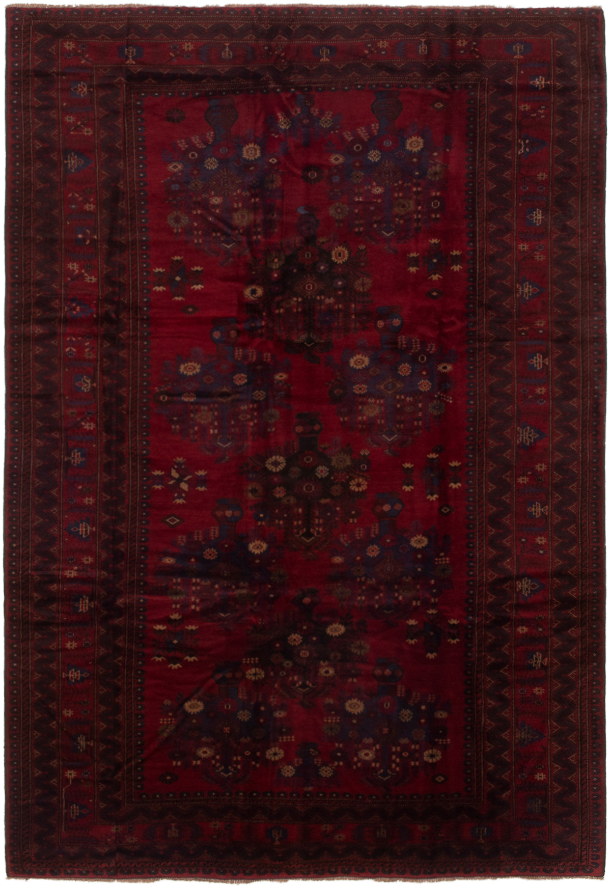 """Hand-knotted Finest Rizbaft Red Wool Rug 6'11"""" x 9'10""""  Size: 6'11"""" x 9'10"""""""