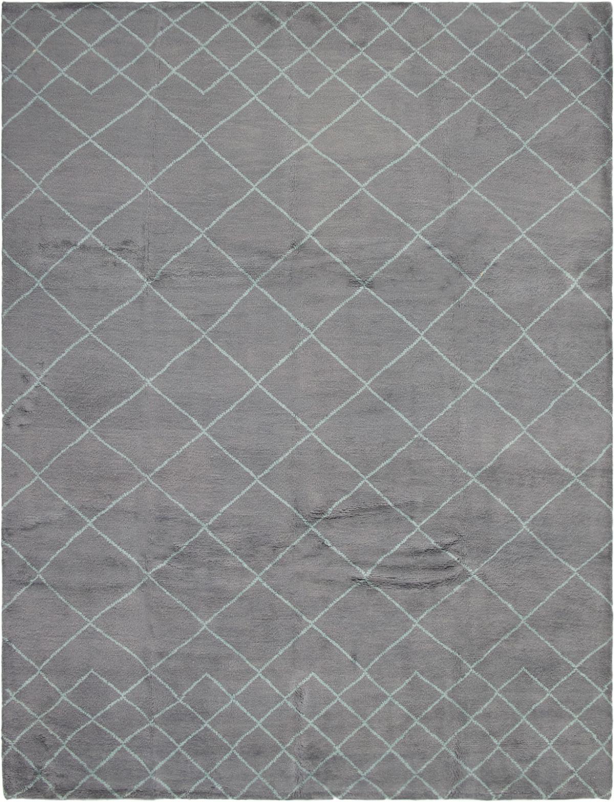 "Hand-knotted Arlequin Dark Grey Wool Rug 9'2"" x 12'0"" Size: 9'2"" x 12'0"""