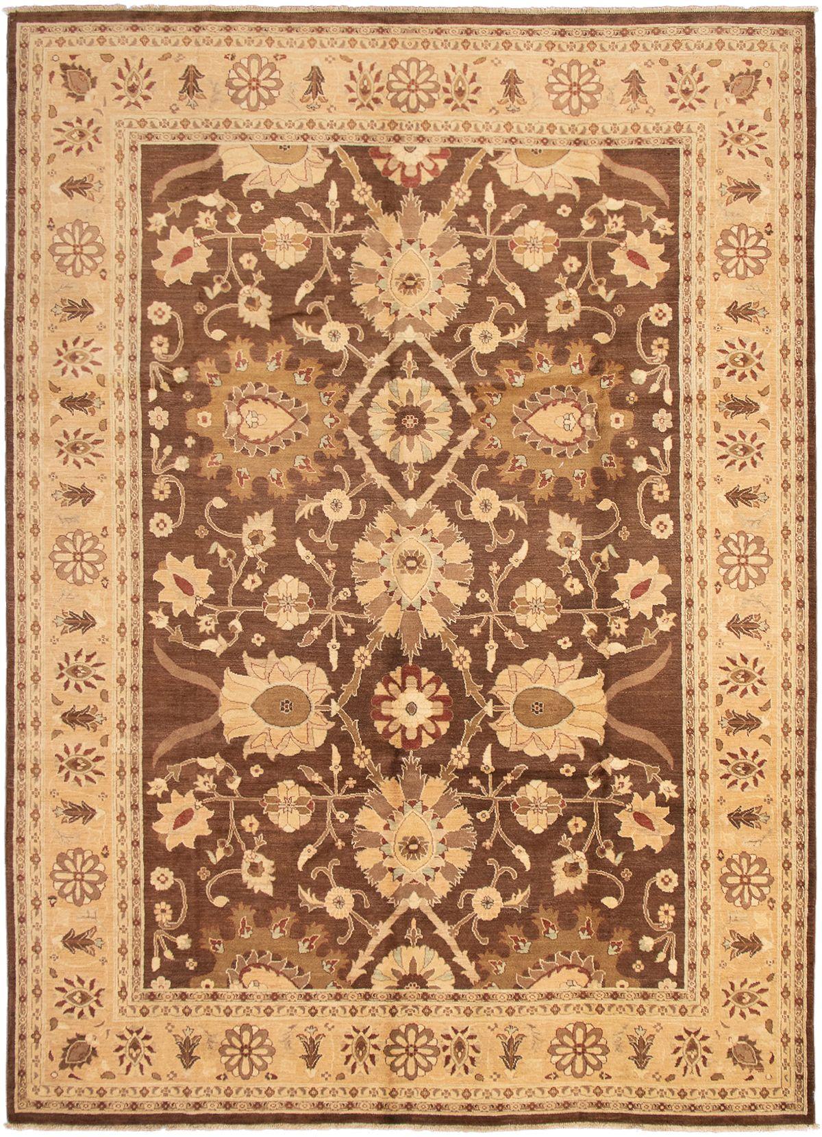 "Hand-knotted Peshawar Oushak Dark Brown Wool Rug 9'10"" x 13'8"" Size: 9'10"" x 13'8"""