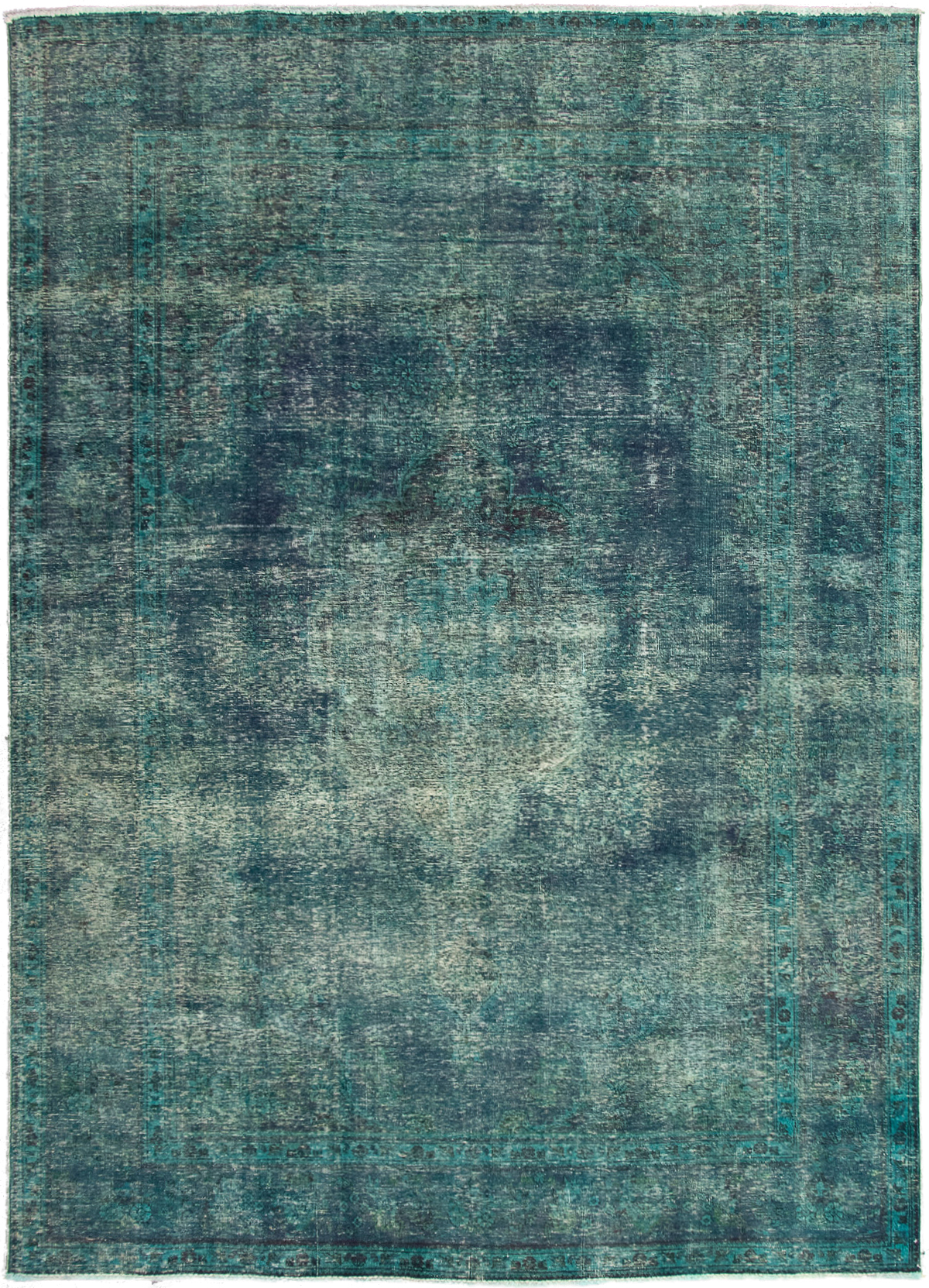 """Hand-knotted Color Transition Dark Blue, Teal Wool Rug 8'3"""" x 11'6"""" Size: 8'3"""" x 11'6"""""""