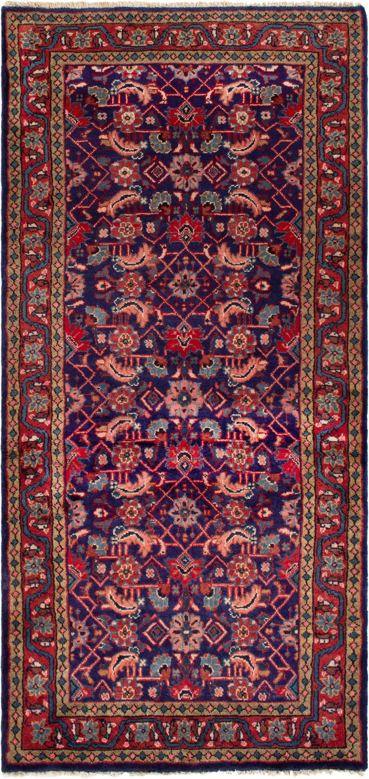 """Hand-knotted Mahal  Wool Rug 3'3"""" x 6'11"""" Size: 3'3"""" x 6'11"""""""
