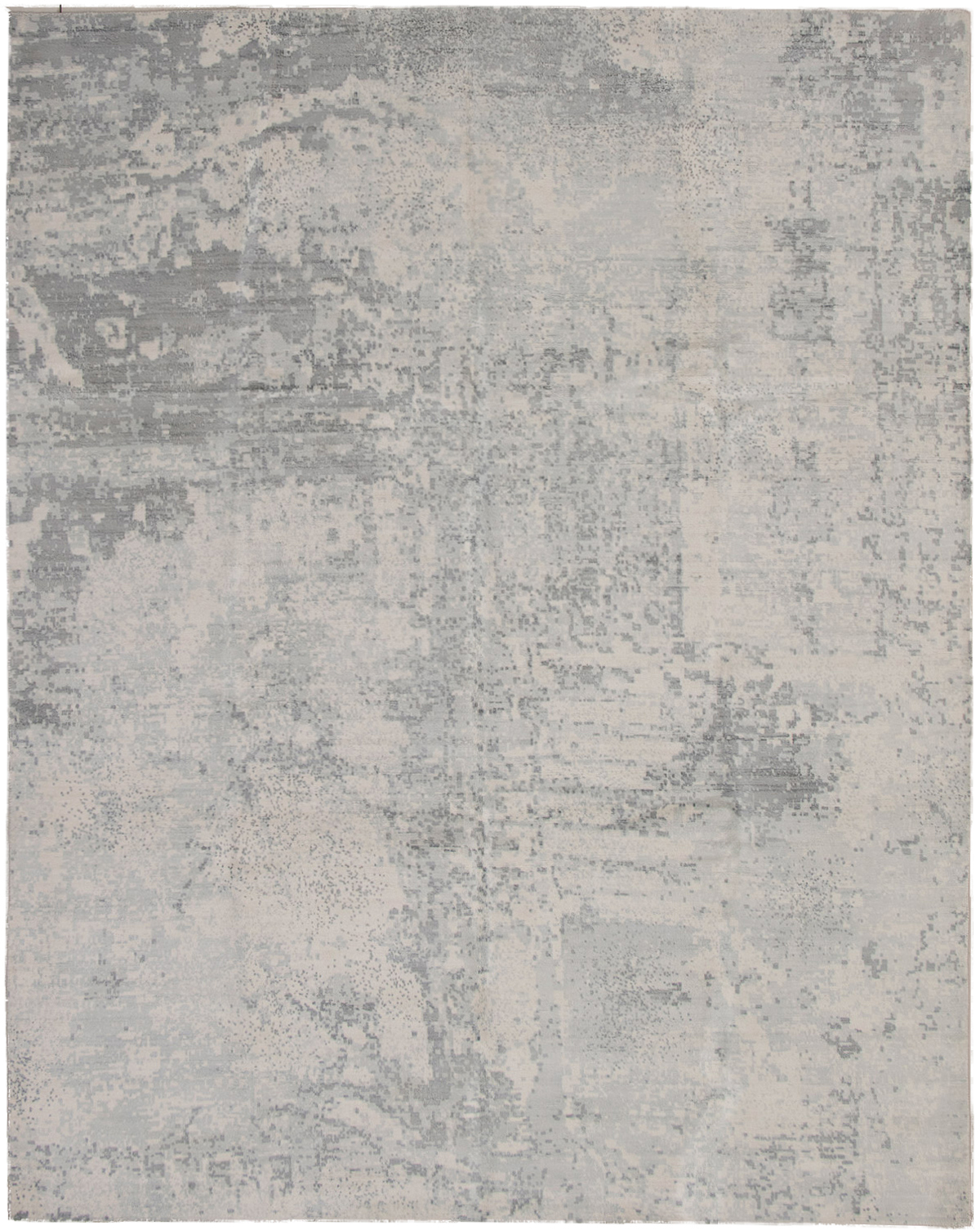 "Hand-knotted Galleria Cream, Grey Viscose Rug 8'0"" x 10'0"" Product Image"