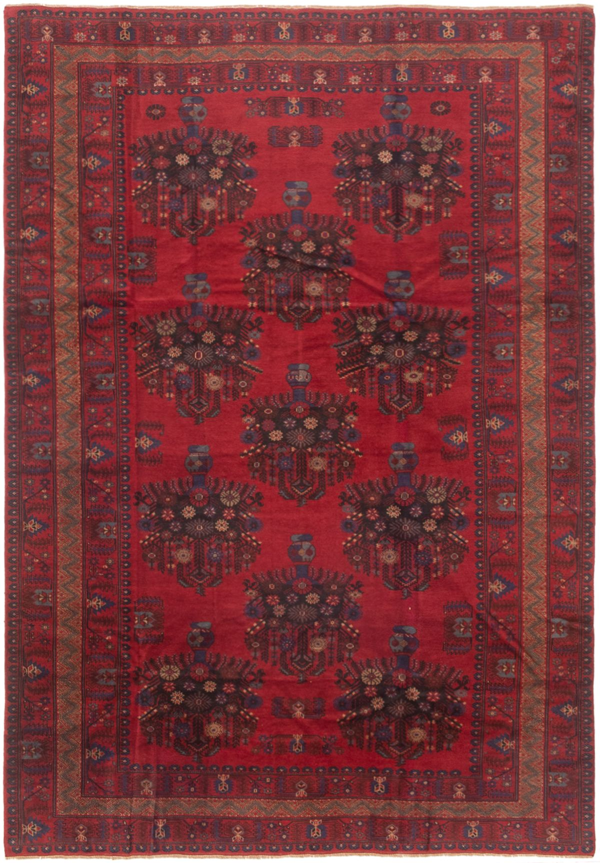 "Hand-knotted Finest Rizbaft Red Wool Rug 6'7"" x 9'7"" Size: 6'7"" x 9'7"""