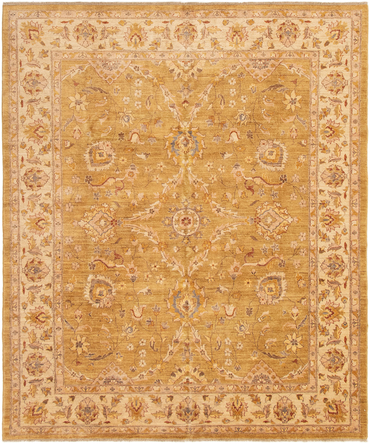 "Hand-knotted Chobi Finest Dark Gold Wool Rug 8'5"" x 10'0"" Size: 8'5"" x 10'0"""