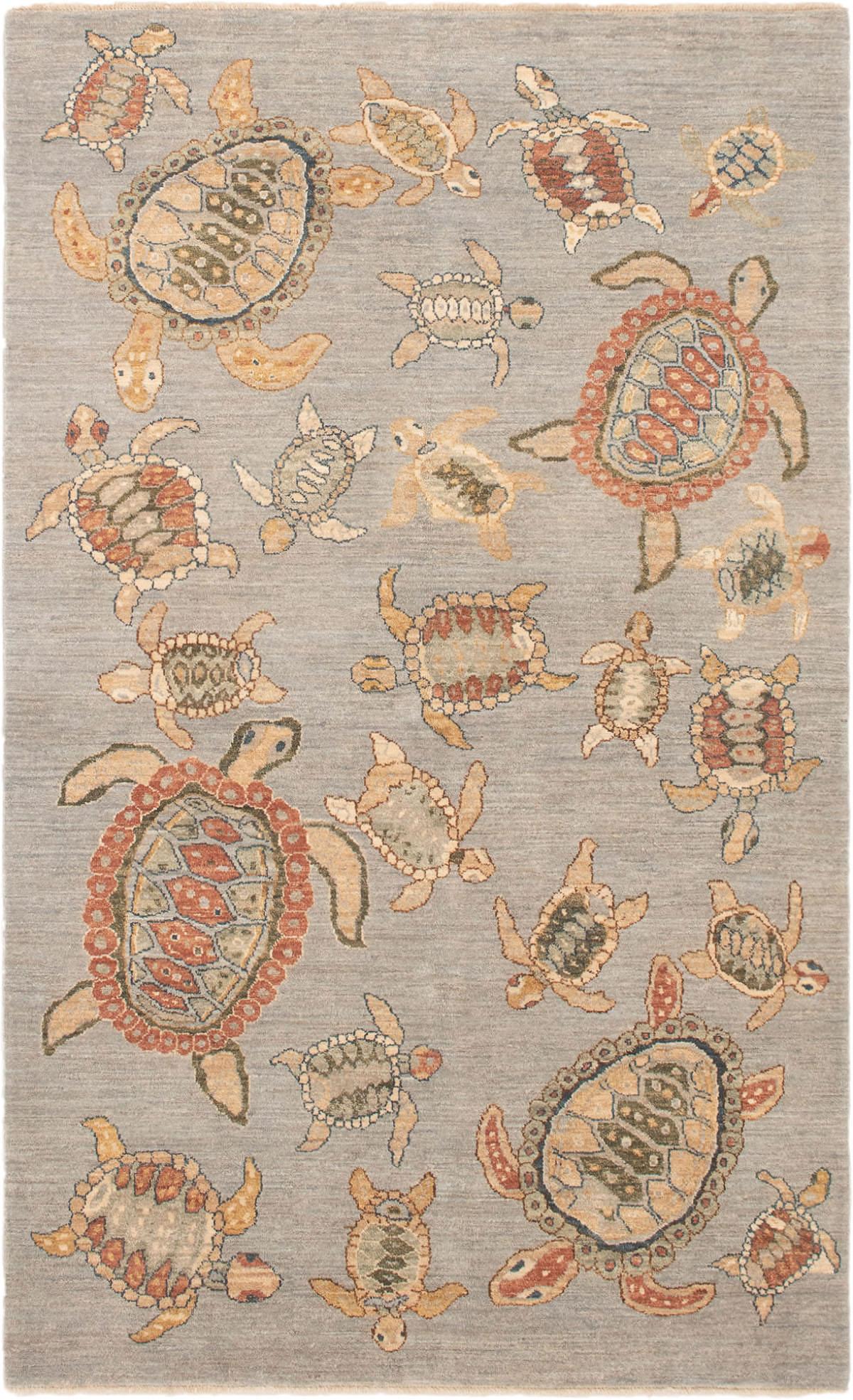 """Hand-knotted Peshawar Finest Light Blue  Wool Rug 5'1"""" x 8'3"""" Size: 5'1"""" x 8'3"""""""