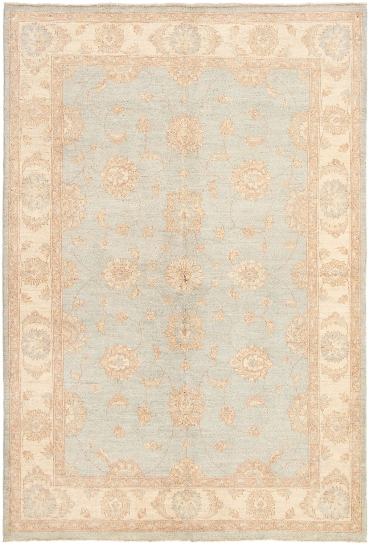 """Hand-knotted Peshawar Finest Light Blue  Wool Rug 5'7"""" x 8'3"""" Size: 5'7"""" x 8'3"""""""