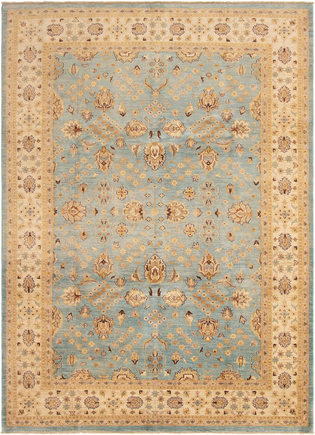 """Hand-knotted Peshawar Finest Light Blue  Wool Rug 9'0"""" x 12'3"""" Size: 9'0"""" x 12'3"""""""