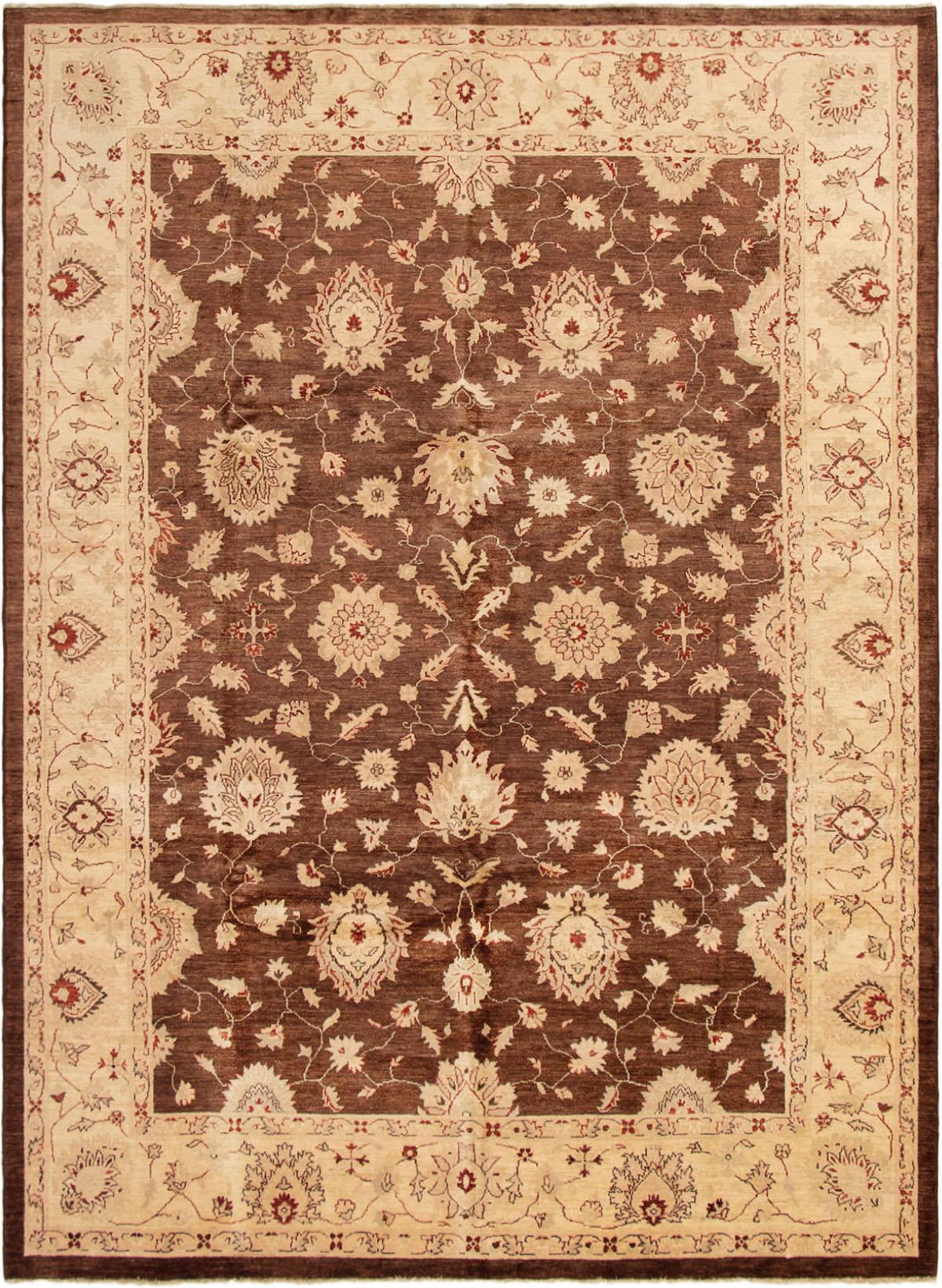 """Hand-knotted Peshawar Finest Dark Brown Wool Rug 9'0"""" x 12'4"""" Size: 9'0"""" x 12'4"""""""