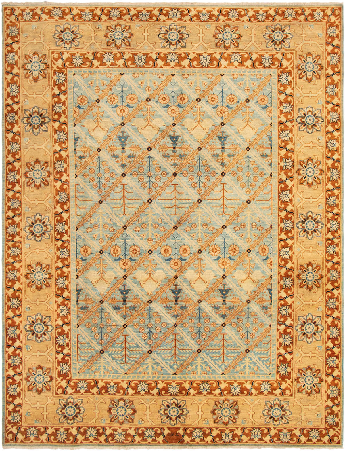 """Hand-knotted Peshawar Finest Light Blue  Wool Rug 9'1"""" x 11'8"""" Size: 9'1"""" x 11'8"""""""