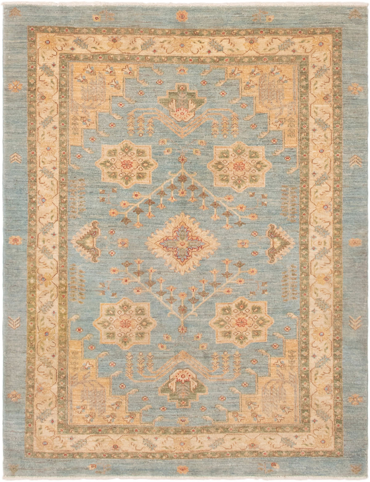 "Hand-knotted Peshawar Oushak Sky Blue Wool Rug 5'0"" x 6'5"" Size: 5'0"" x 6'5"""