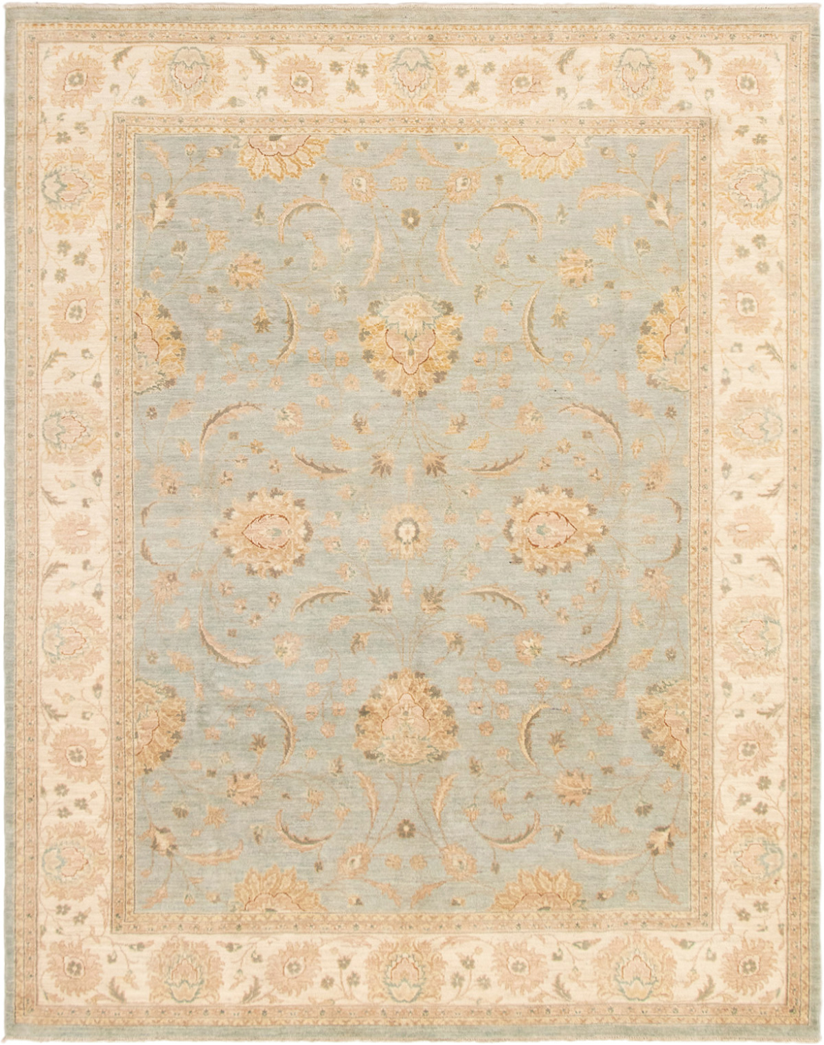 """Hand-knotted Peshawar Finest Light Blue  Wool Rug 8'1"""" x 10'2"""" Size: 8'1"""" x 10'2"""""""