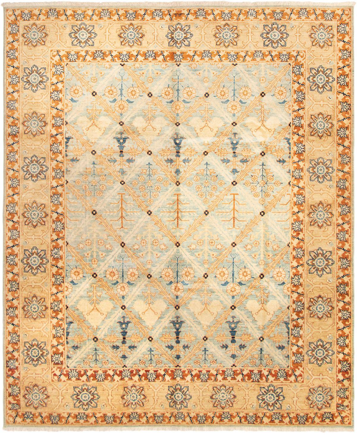 "Hand-knotted Peshawar Finest Light Blue , Light Brown Wool Rug 7'10"" x 9'7"" Size: 7'10"" x 9'7"""