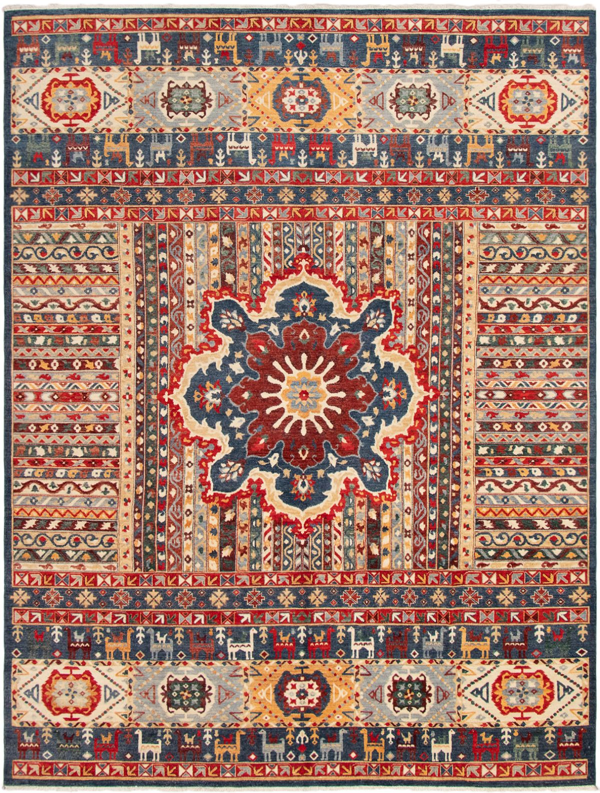"""Hand-knotted Finest Ziegler Chobi Navy Blue, Red Wool Rug 8'10"""" x 11'8"""" Size: 8'10"""" x 11'8"""""""