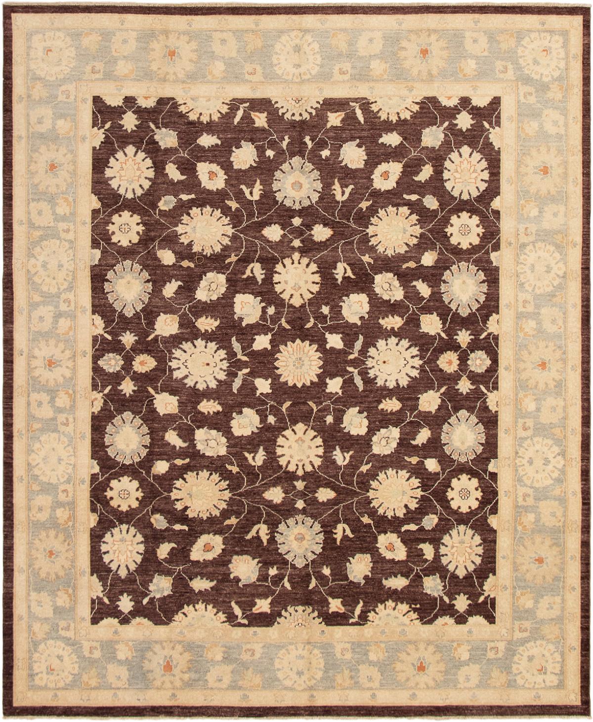 """Hand-knotted Peshawar Finest Dark Brown Wool Rug 8'2"""" x 9'10"""" Size: 8'2"""" x 9'10"""""""