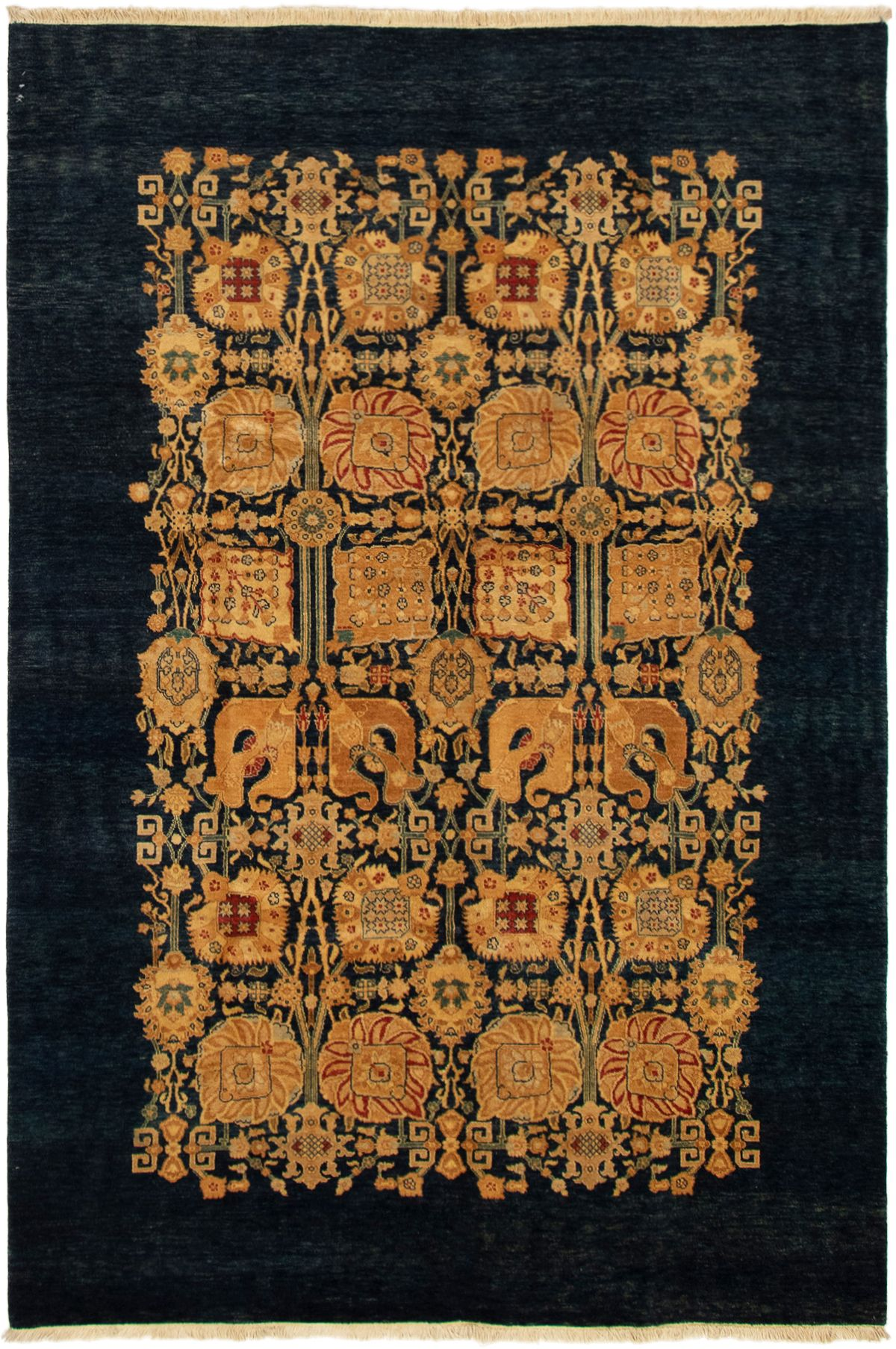 """Hand-knotted Pako Persian 18/20 Navy Blue Wool Rug 6'0"""" x 9'0"""" Size: 6'0"""" x 9'0"""""""