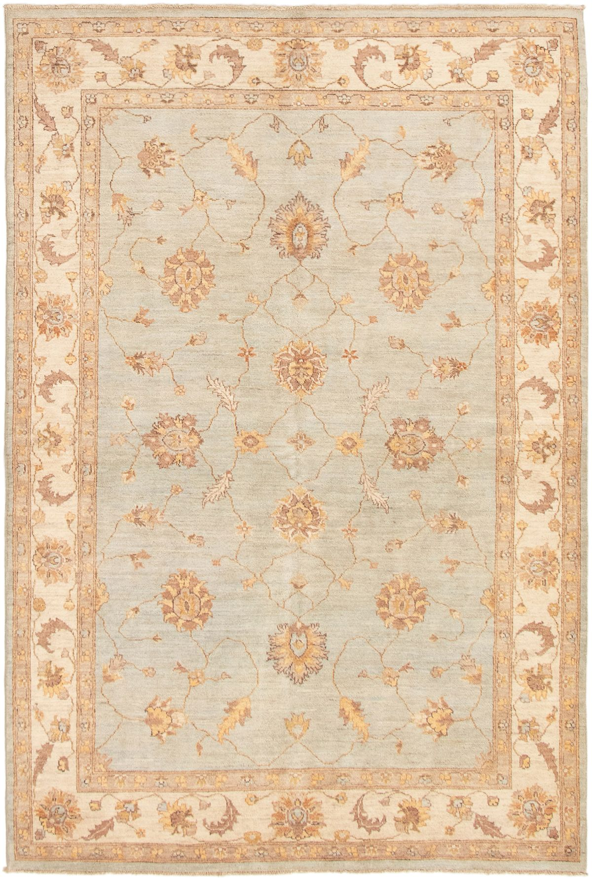 """Hand-knotted Peshawar Finest Light Blue  Wool Rug 6'0"""" x 9'0"""" Size: 6'0"""" x 9'0"""""""
