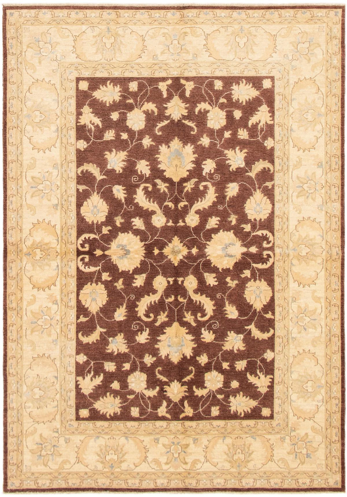 """Hand-knotted Peshawar Finest Dark Brown Wool Rug 6'2"""" x 8'9"""" Size: 6'2"""" x 8'9"""""""