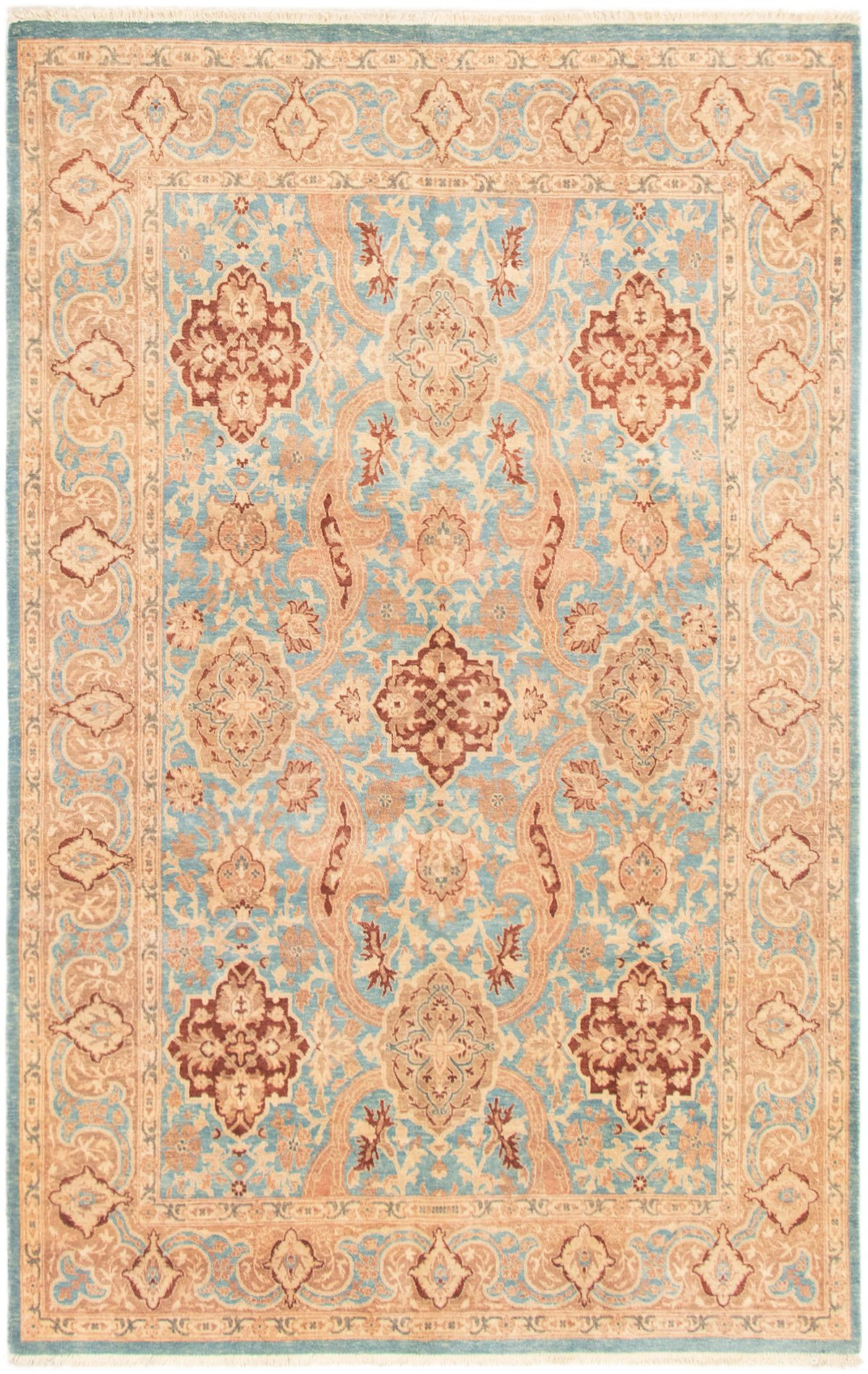"""Hand-knotted Peshawar Finest Sky Blue Wool Rug 6'0"""" x 9'6"""" Product Image"""