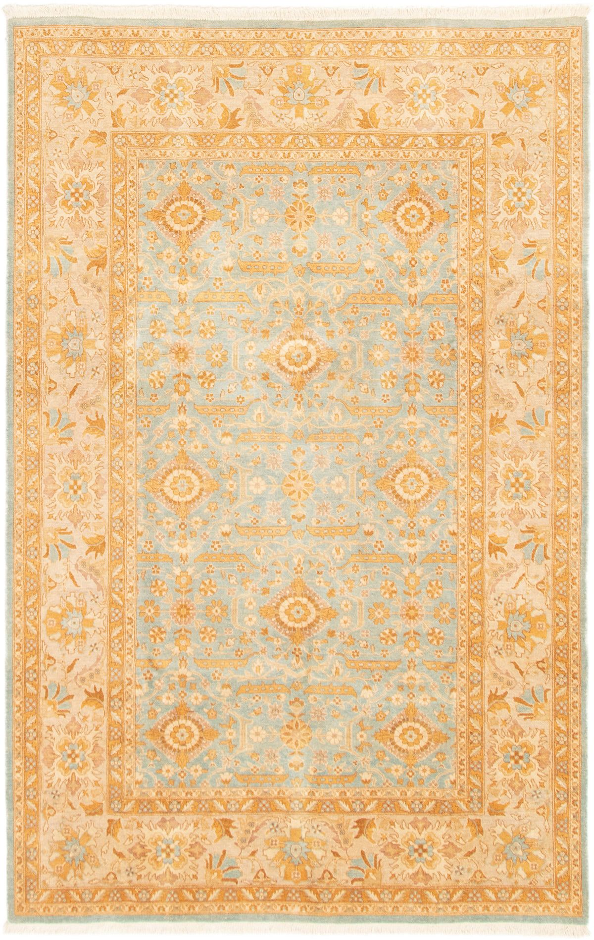 """Hand-knotted Peshawar Finest Light Blue  Wool Rug 5'10"""" x 9'2"""" Size: 5'10"""" x 9'2"""""""
