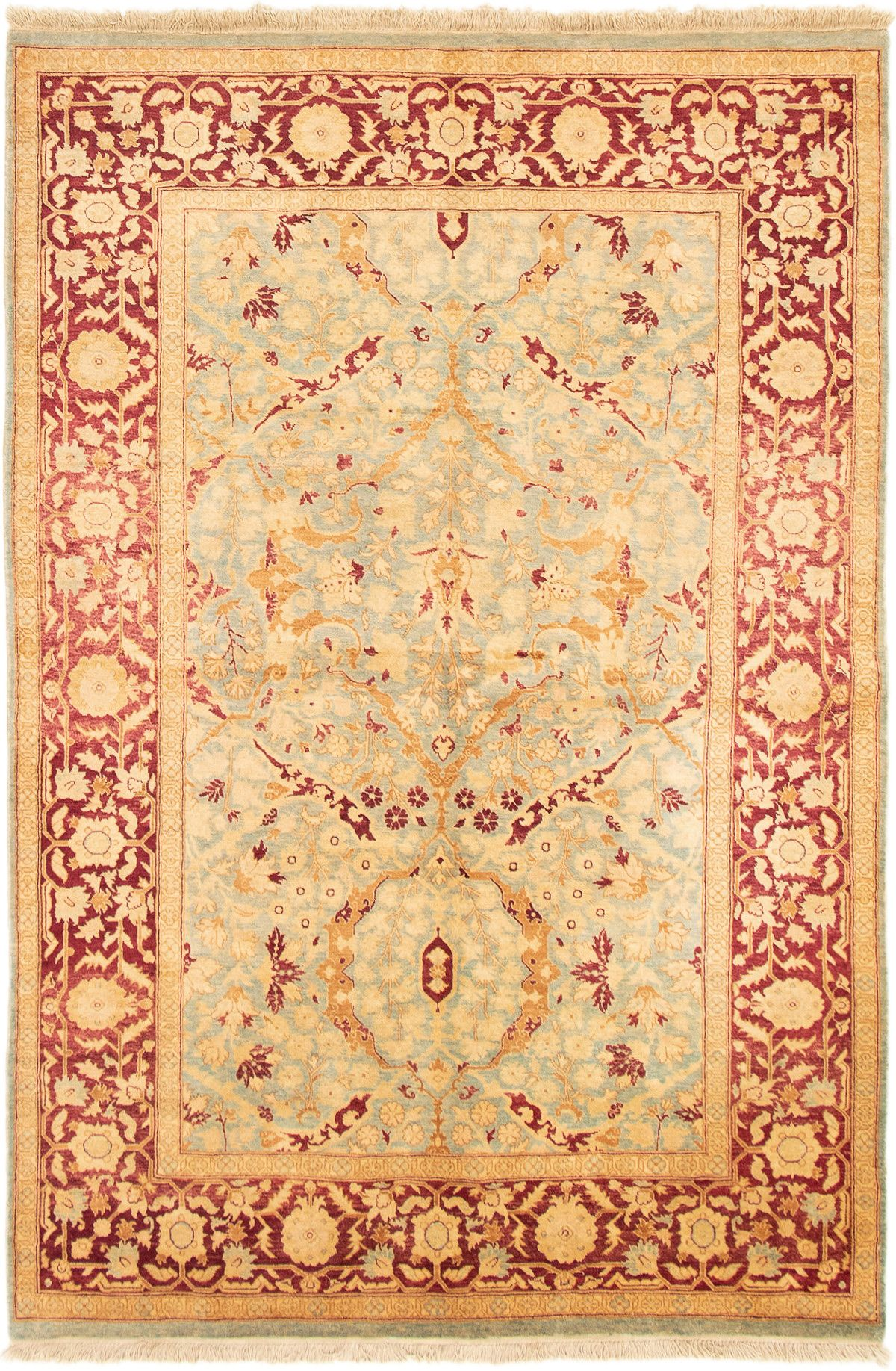 """Hand-knotted Pako Persian 18/20 Light Blue  Wool Rug 6'1"""" x 9'0"""" Size: 6'1"""" x 9'0"""""""