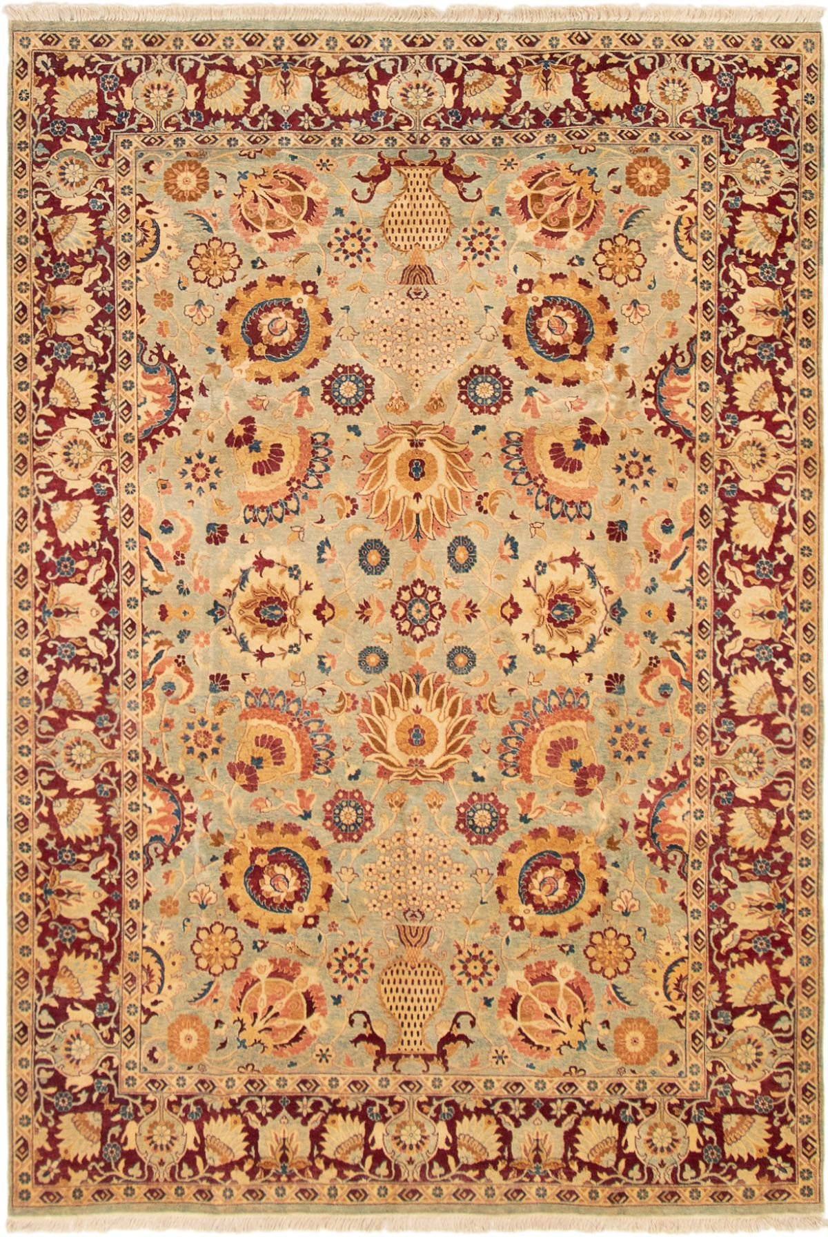 """Hand-knotted Pako Persian 18/20 Dark Red, Light Blue  Wool Rug 6'0"""" x 8'10"""" Size: 6'0"""" x 8'10"""""""