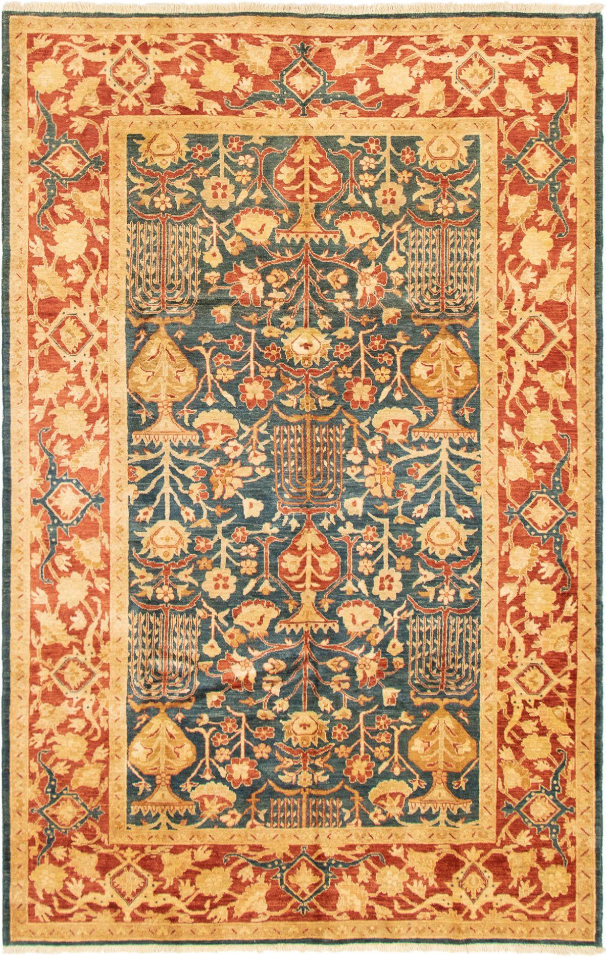 "Hand-knotted Chobi Finest Dark Blue Wool Rug 6'2"" x 9'8"" Size: 6'2"" x 9'8"""