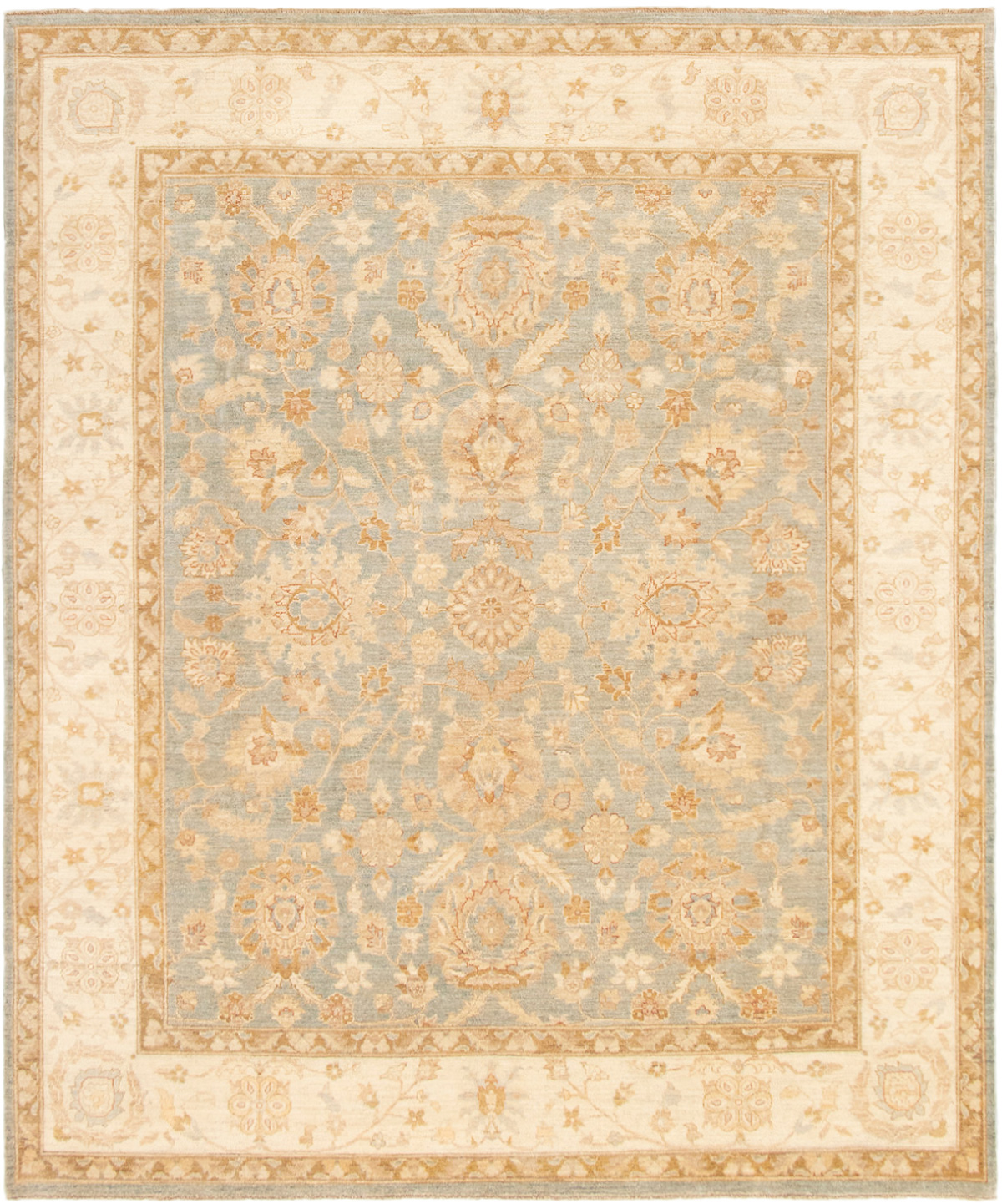 """Hand-knotted Peshawar Finest Light Blue  Wool Rug 8'5"""" x 9'10"""" Size: 8'5"""" x 9'10"""""""