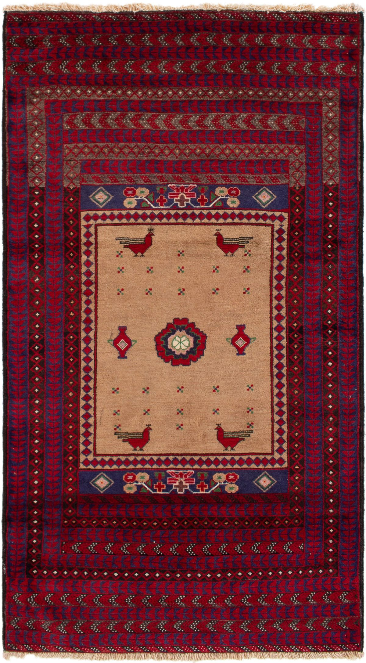 """Hand-knotted Finest Baluch  Wool Rug 3'7"""" x 6'9"""" Size: 3'7"""" x 6'9"""""""