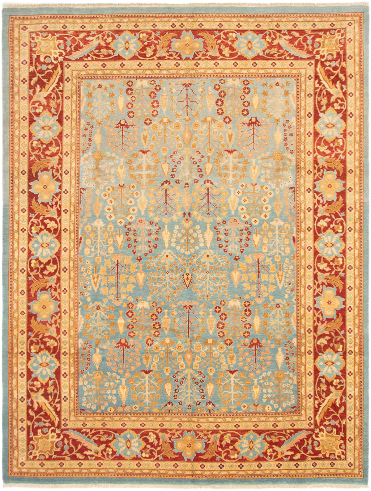 """Hand-knotted Peshawar Finest Light Blue  Wool Rug 9'0"""" x 11'10"""" Size: 9'0"""" x 11'10"""""""