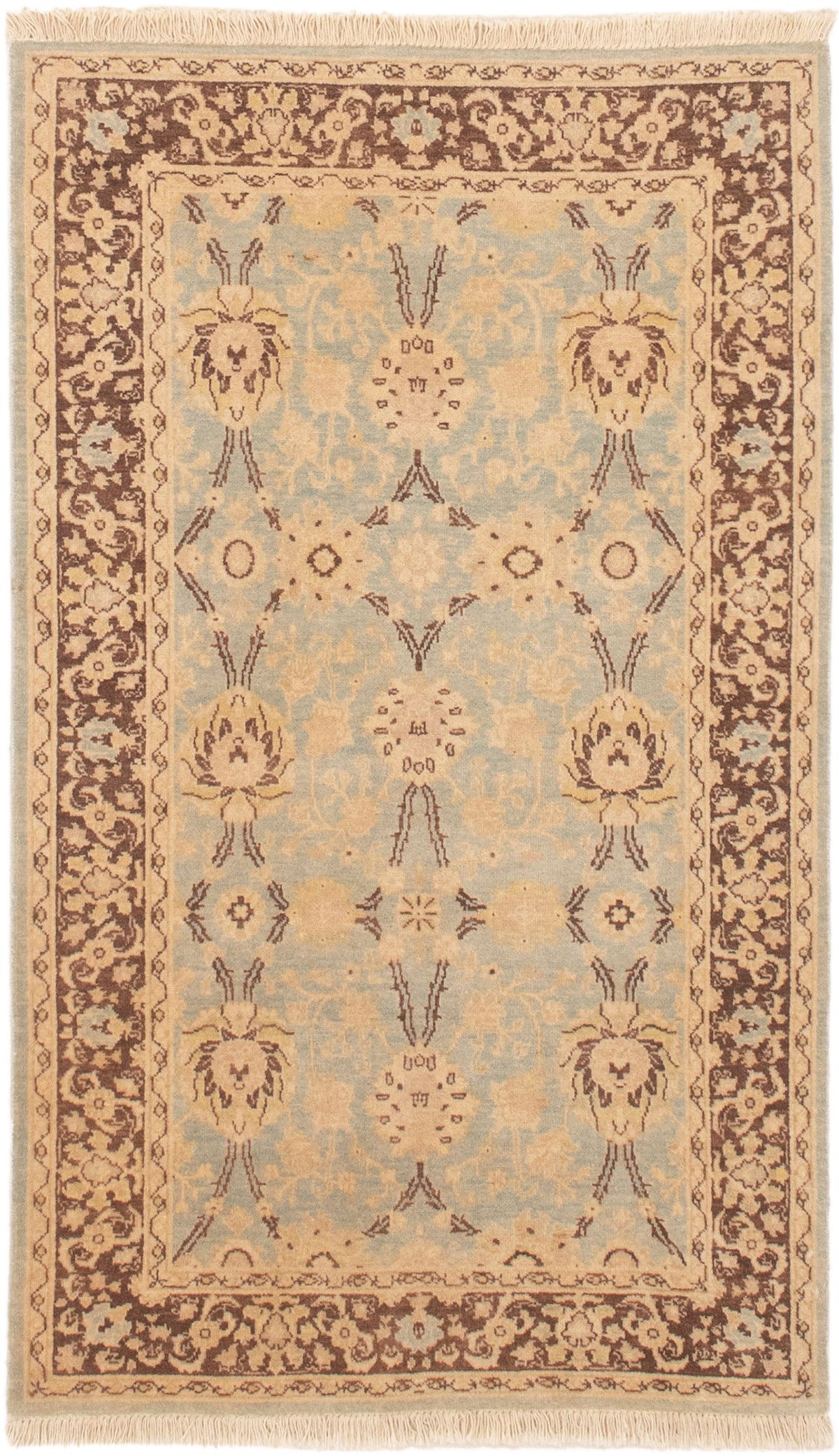 """Hand-knotted Peshawar Finest Light Blue  Wool Rug 3'2"""" x 5'4"""" Size: 3'2"""" x 5'4"""""""