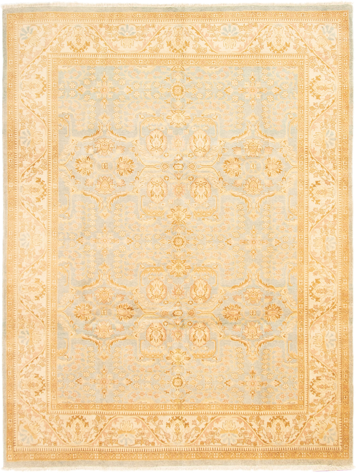 """Hand-knotted Peshawar Finest Light Blue  Wool Rug 9'2"""" x 11'10"""" Size: 9'2"""" x 11'10"""""""