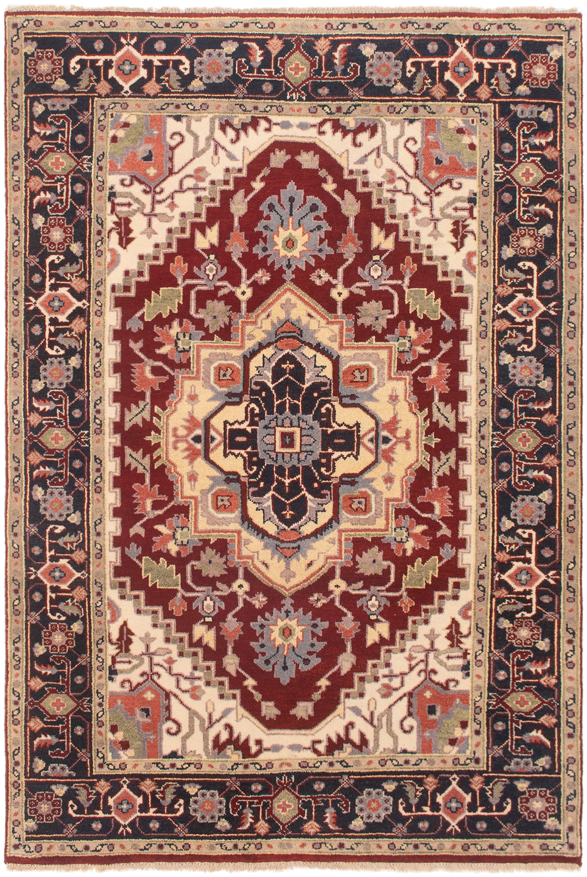 """Hand-knotted Serapi Heritage Dark Red Wool Rug 6'0"""" x 8'9"""" Size: 6'0"""" x 8'9"""""""