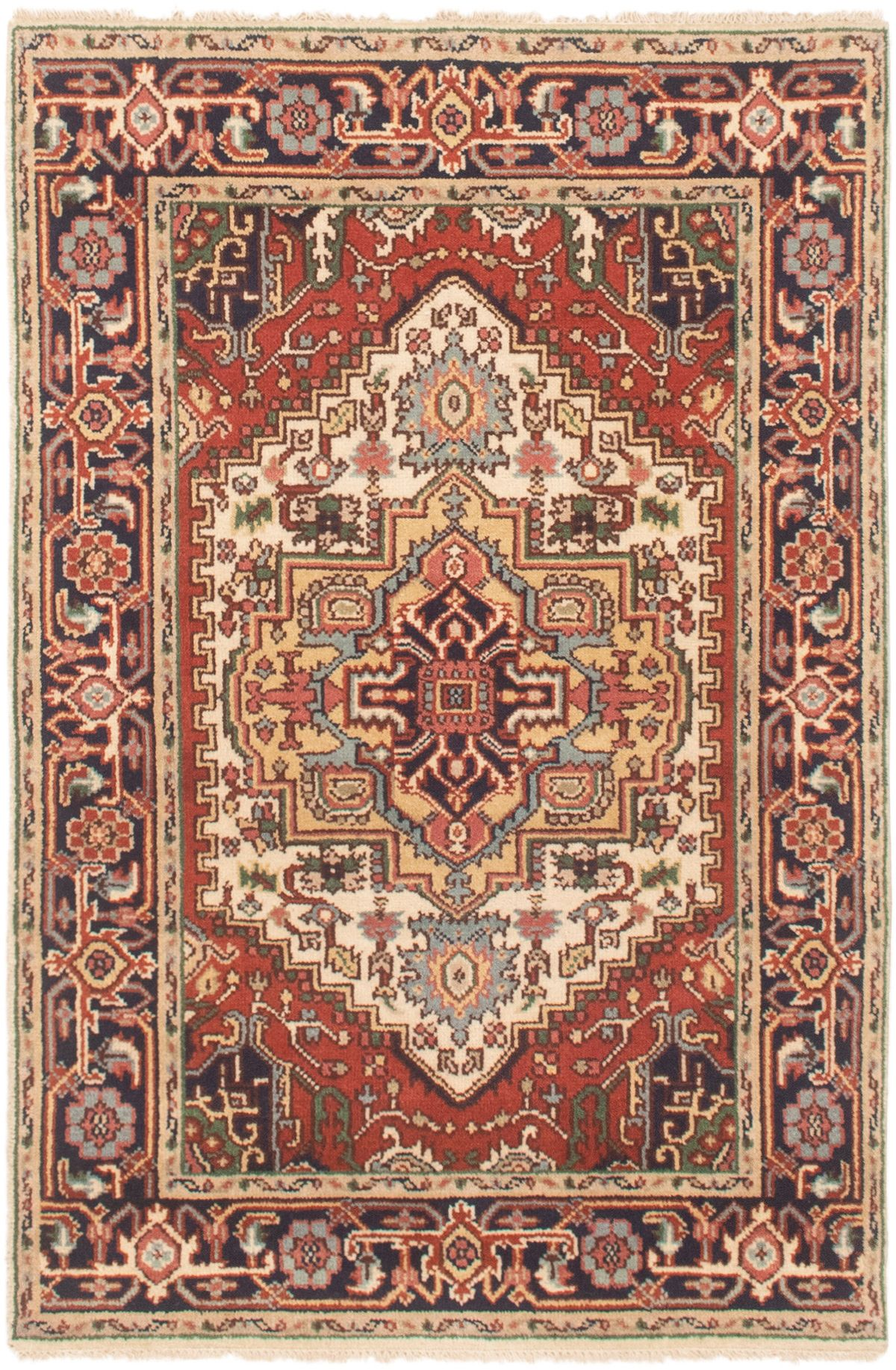 """Hand-knotted Serapi Heritage Cream Wool Rug 4'0"""" x 6'0""""  Size: 4'0"""" x 6'0"""""""