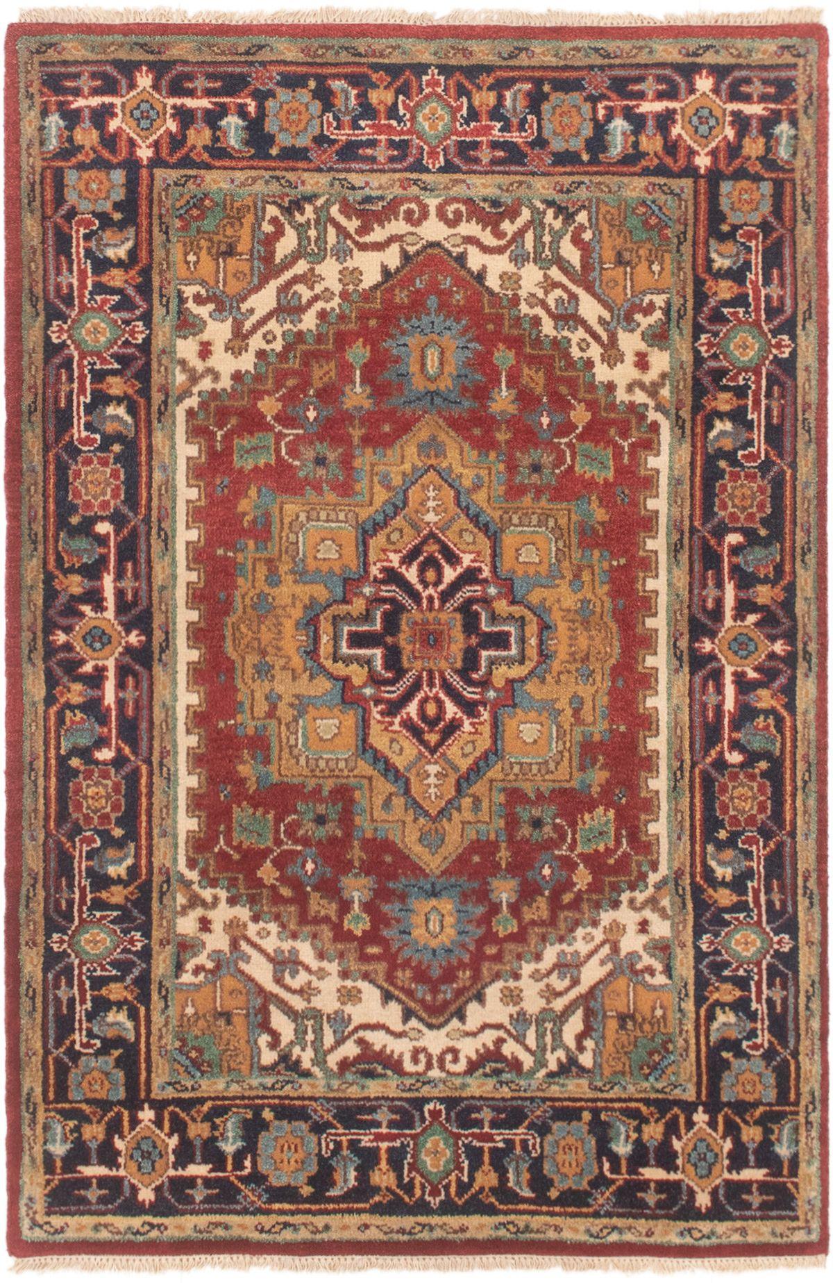 "Hand-knotted Serapi Heritage Dark Blue, Dark Copper Wool Rug 4'0"" x 6'0"" Size: 4'0"" x 6'0"""