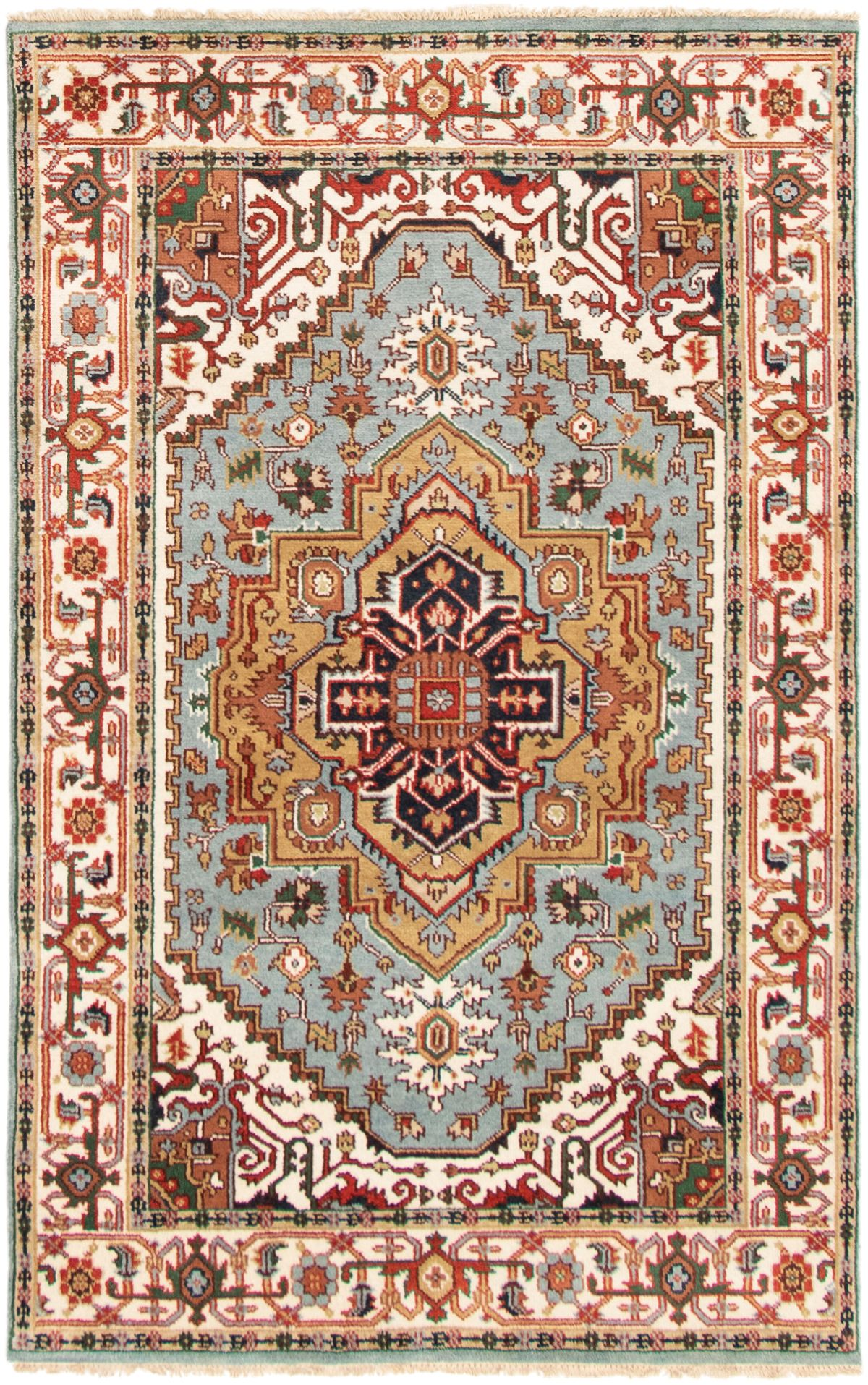 """Hand-knotted Serapi Heritage Light Blue  Wool Rug 4'10"""" x 7'11"""" Size: 4'10"""" x 7'11"""""""