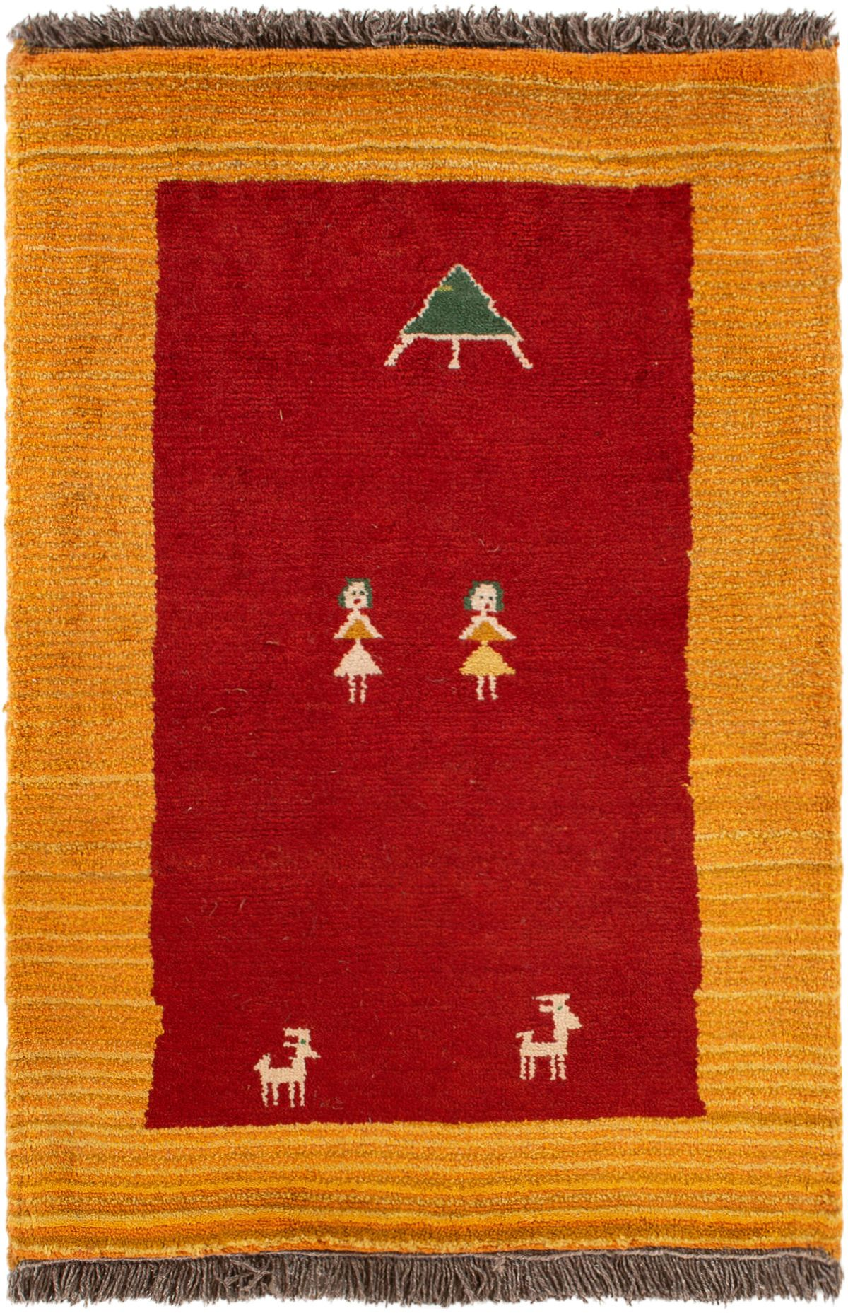 """Hand-knotted Persian Gabbeh  Wool Rug 3'0"""" x 4'6"""" Size: 3'0"""" x 4'6"""""""