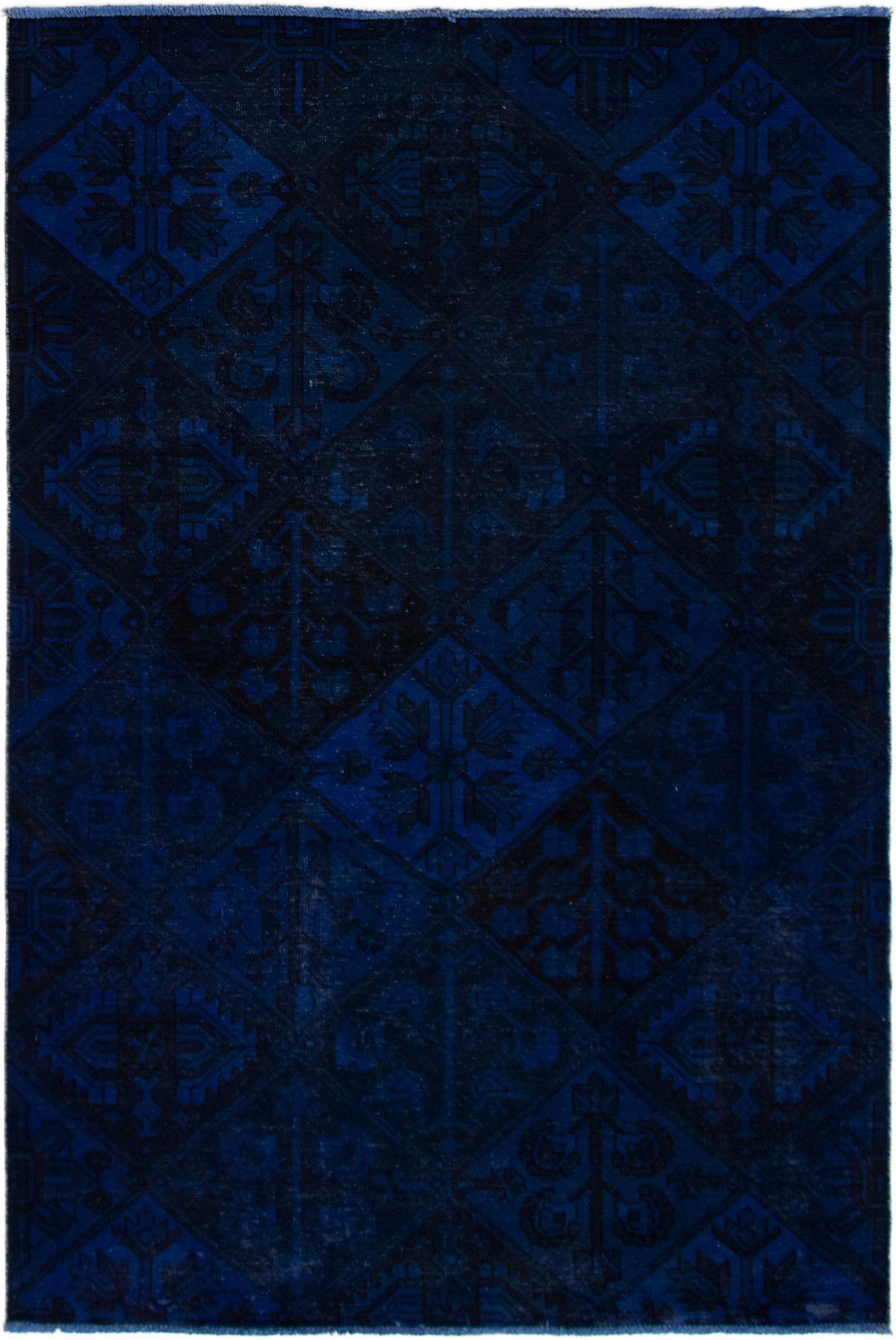 """Hand-knotted Color Transition Navy Blue Wool Rug 5'5"""" x 8'3"""" Size: 5'5"""" x 8'3"""""""