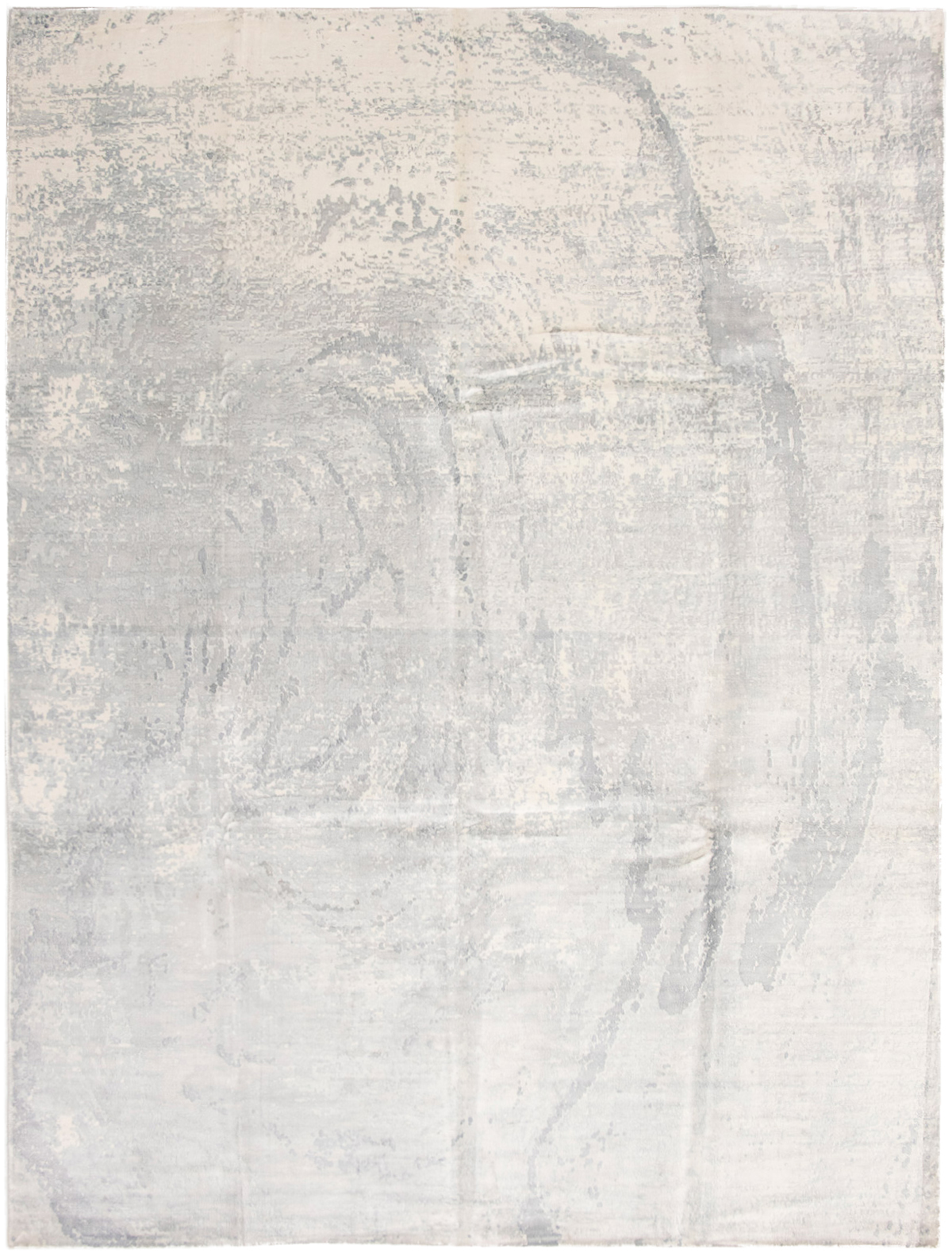 """Hand-knotted Galleria Grey, Ivory Viscose Rug 9'0"""" x 11'10"""" Size: 9'0"""" x 11'10"""""""