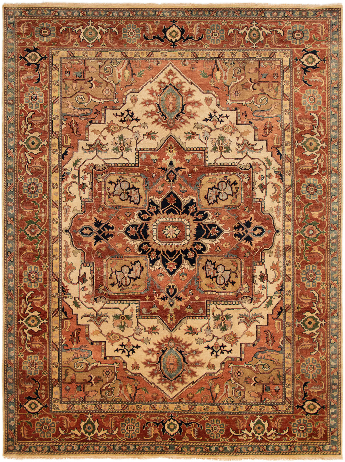 """Hand-knotted Jules-Sultane Dark Copper, Ivory Wool Rug 8'11"""" x 11'11"""" Size: 8'11"""" x 11'11"""""""