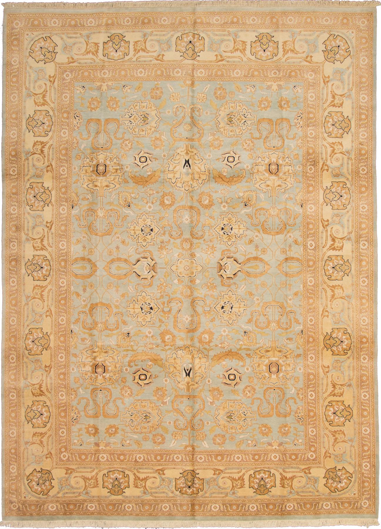 "Hand-knotted Peshawar Oushak Light Blue  Wool Rug 10'2"" x 13'9"" Size: 10'2"" x 13'9"""