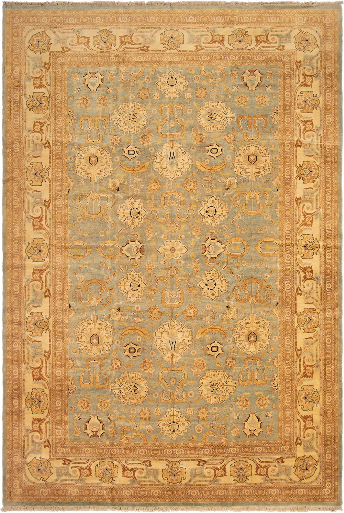 "Hand-knotted Peshawar Oushak Light Blue  Wool Rug 12'0"" x 18'0"" Size: 12'0"" x 18'0"""