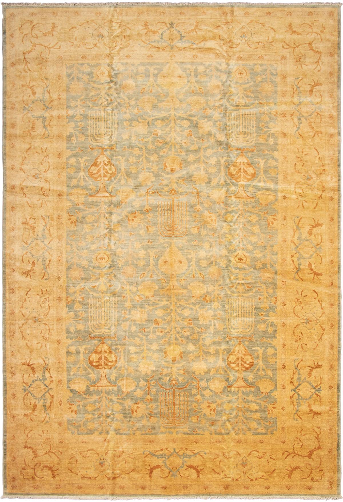"Hand-knotted Peshawar Oushak Light Blue  Wool Rug 12'2"" x 17'9"" Size: 12'2"" x 17'9"""