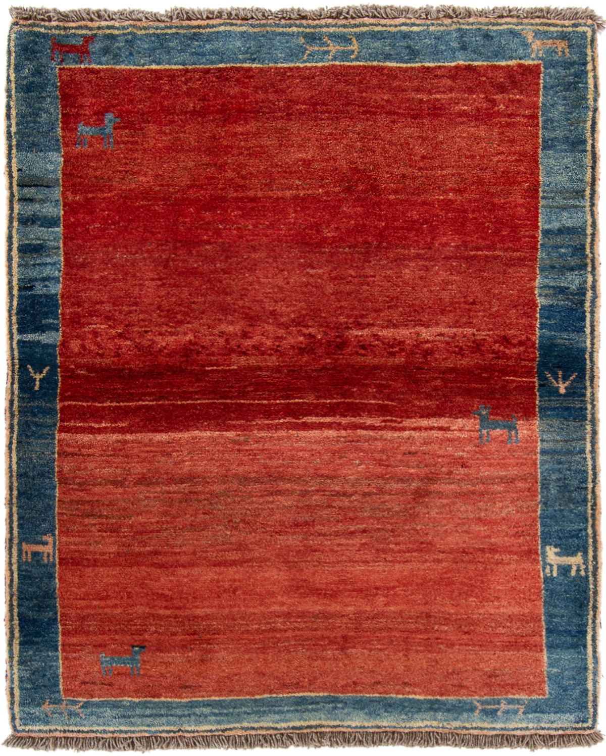 """Hand-knotted Persian Gabbeh  Wool Rug 4'2"""" x 5'2"""" Size: 4'2"""" x 5'2"""""""