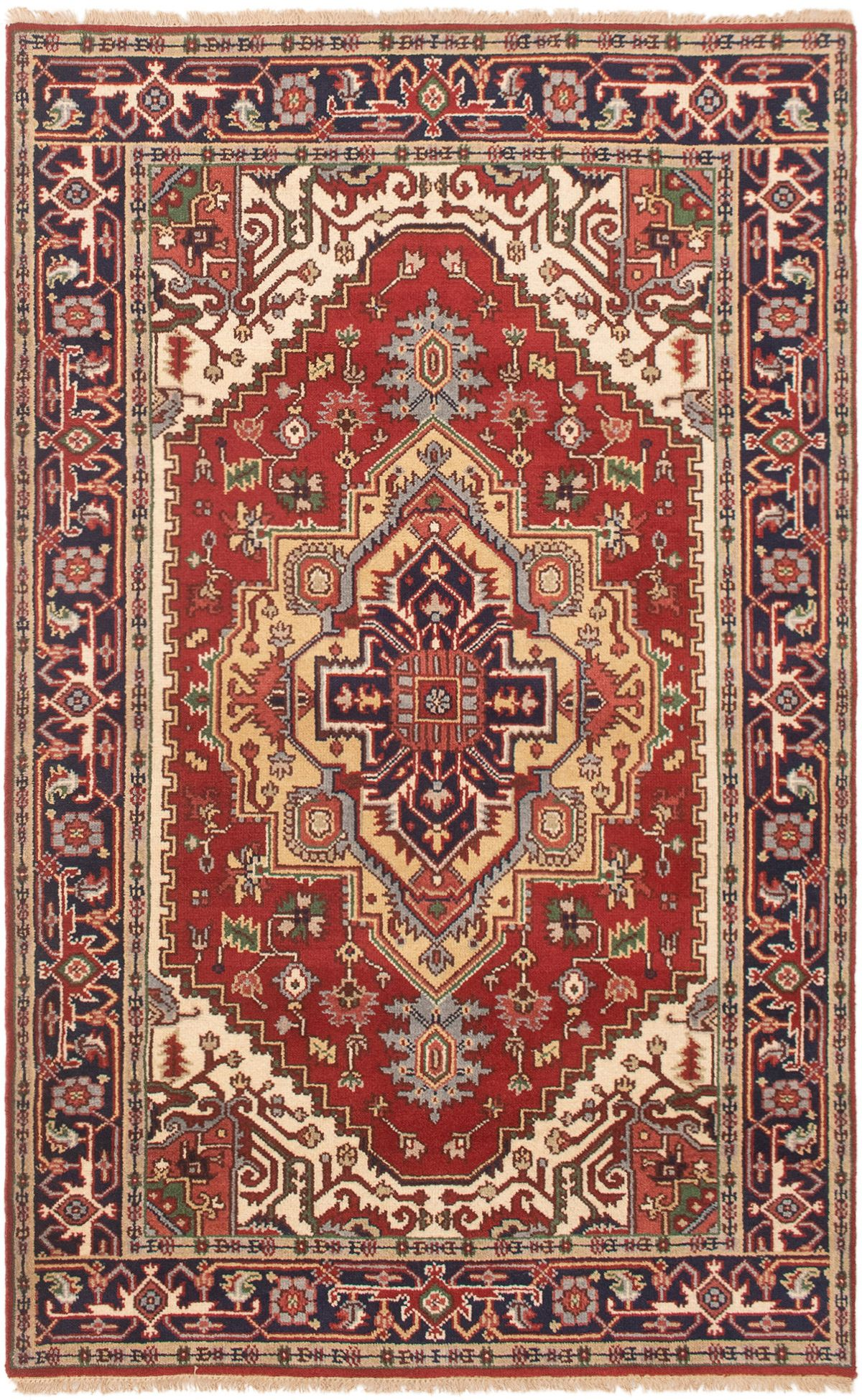 """Hand-knotted Serapi Heritage Dark Copper Wool Rug 4'10"""" x 7'10""""  Size: 4'10"""" x 7'10"""""""