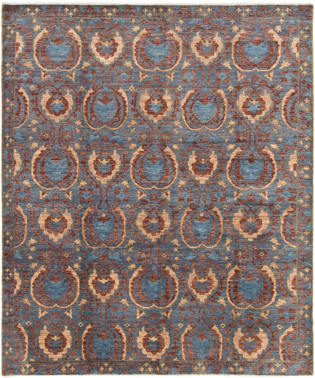 "Hand-knotted Finest Ushak Dark Blue Wool Rug 8'1"" x 9'9"" Size: 8'1"" x 9'9"""