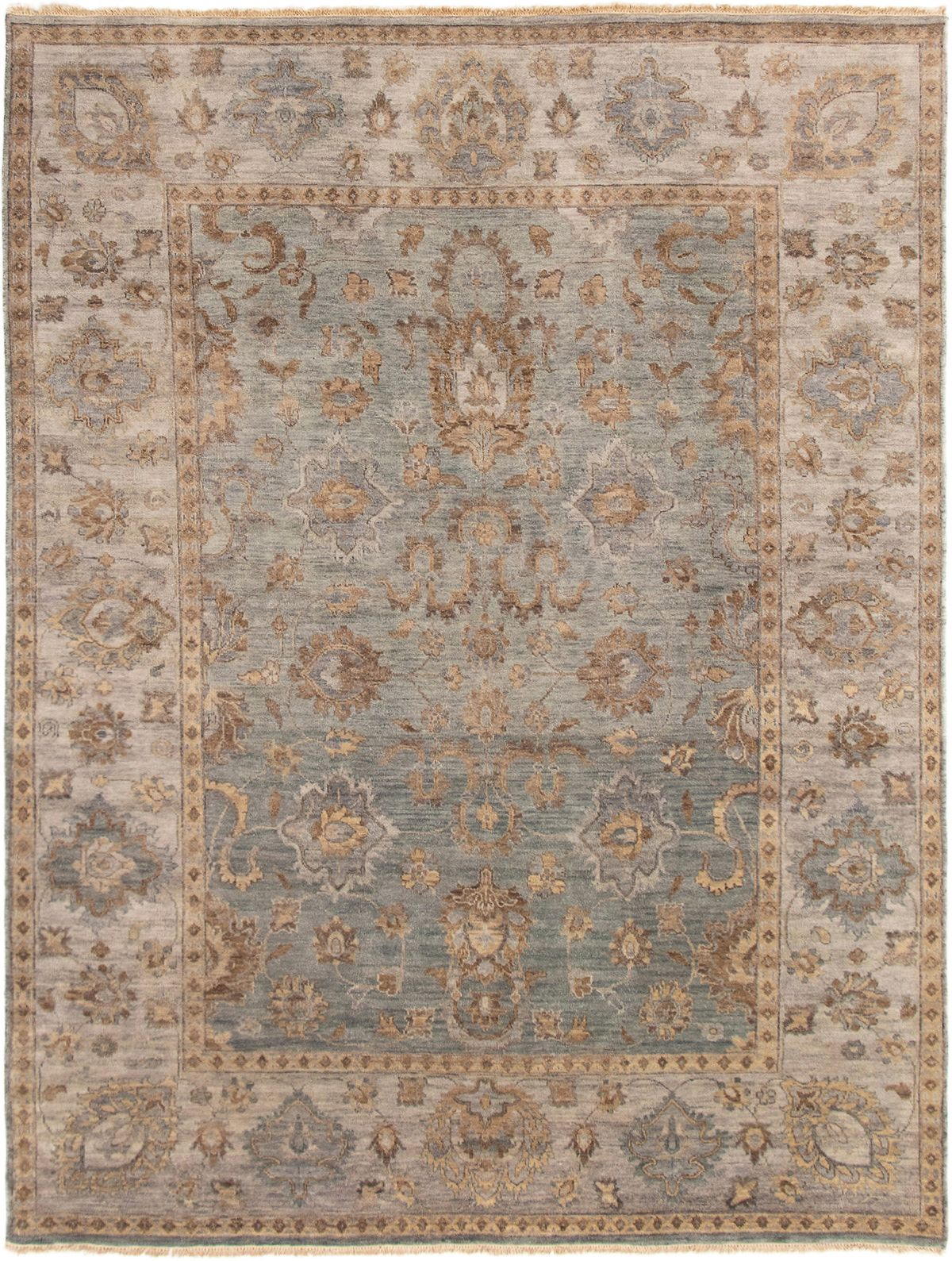 "Hand-knotted Finest Ushak Light Denim Blue Wool Rug 7'9"" x 10'0"" Size: 7'9"" x 10'0"""