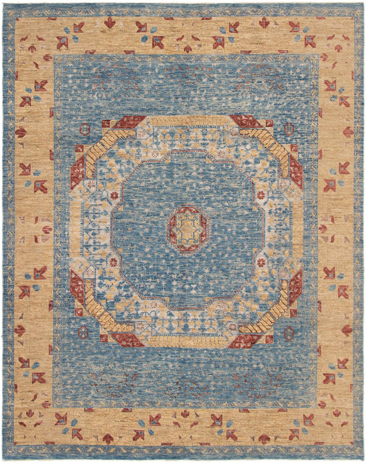 """Hand-knotted Finest Ushak Blue Wool Rug 8'2"""" x 10'1"""" Size: 8'2"""" x 10'1"""""""