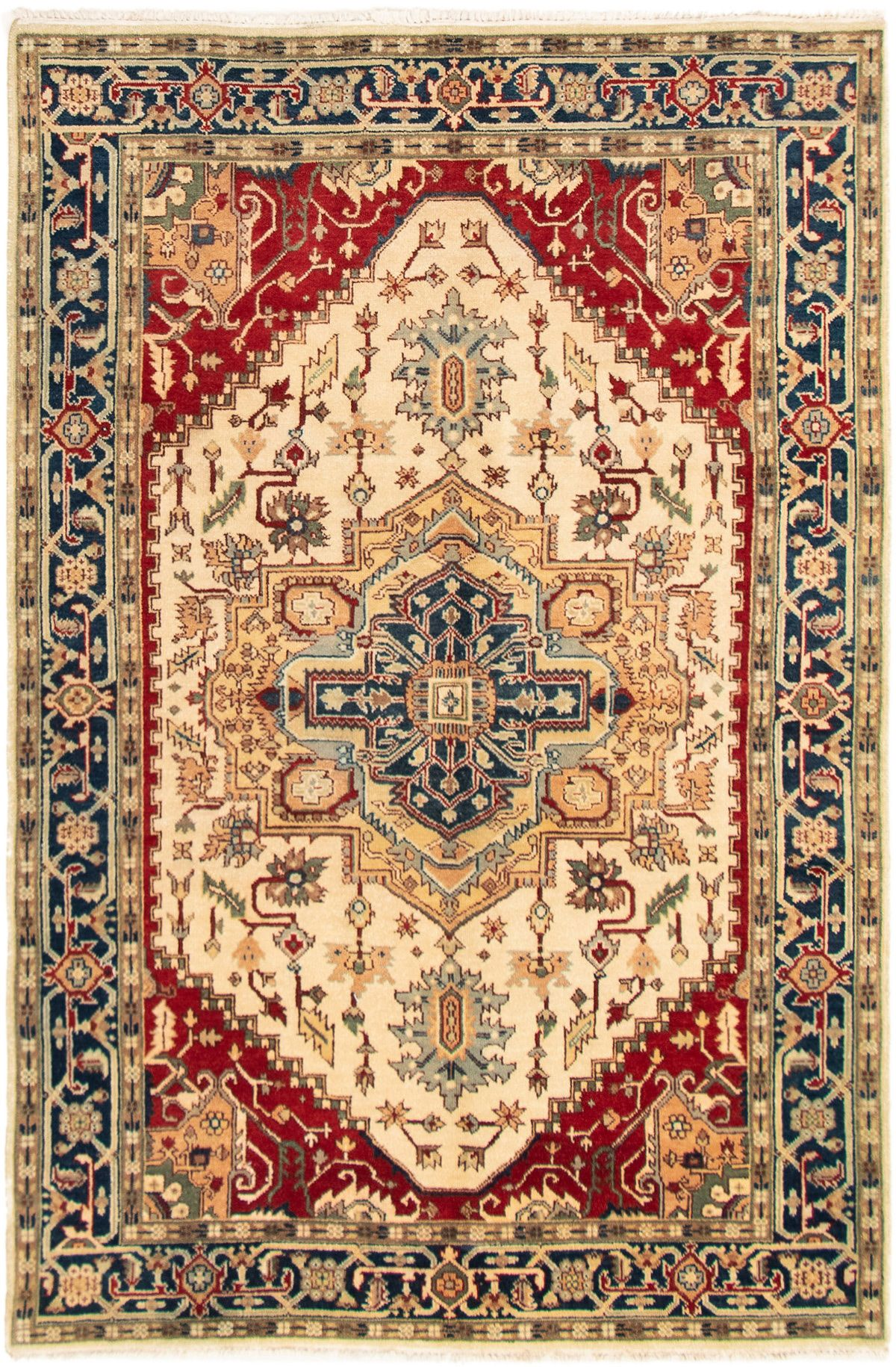 """Hand-knotted Serapi Heritage Ivory Wool Rug 6'0"""" x 9'2"""" Size: 6'0"""" x 9'2"""""""