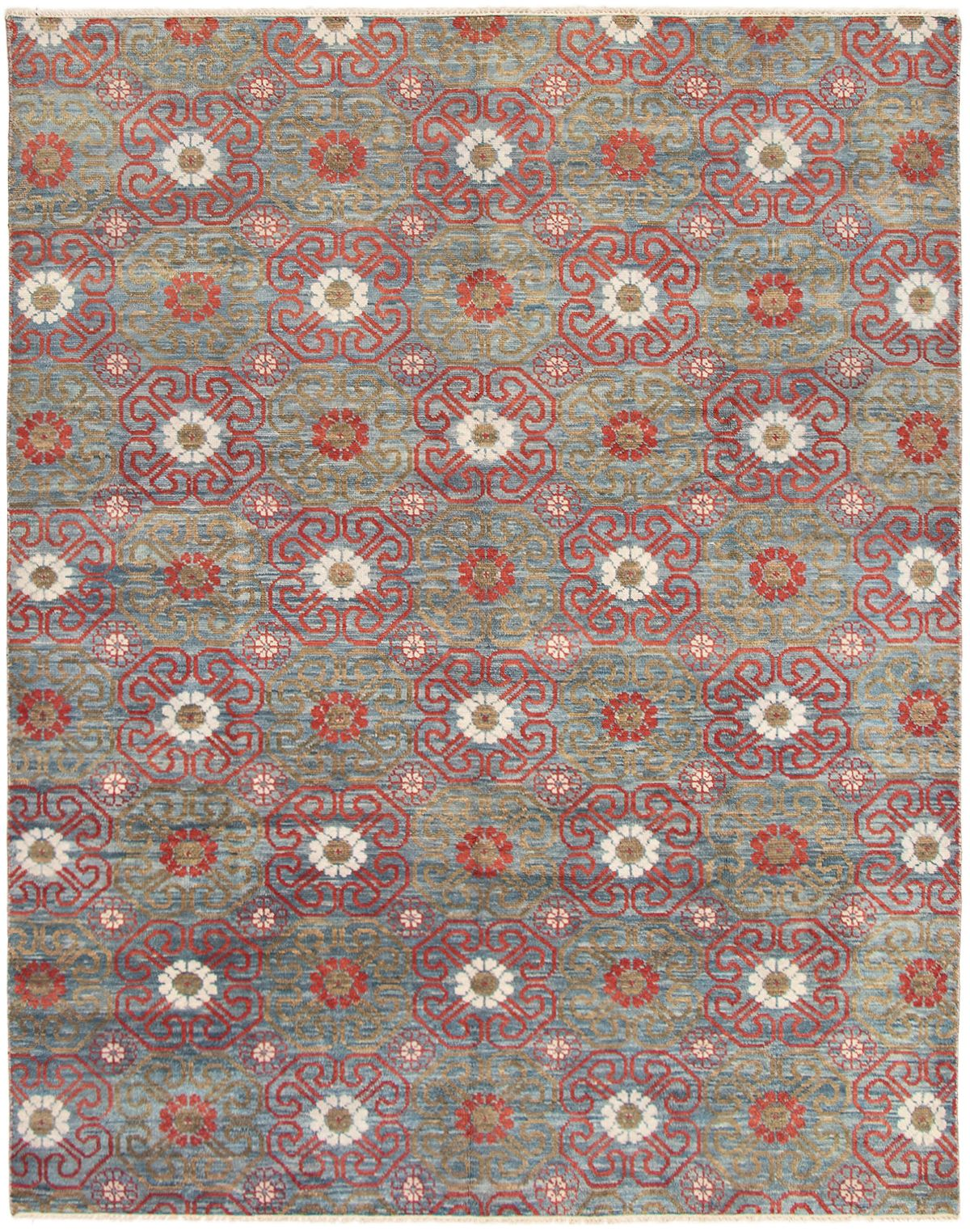 "Hand-knotted Finest Ushak Dark Red, Turquoise Wool Rug 8'0"" x 10'0"" Product Image"