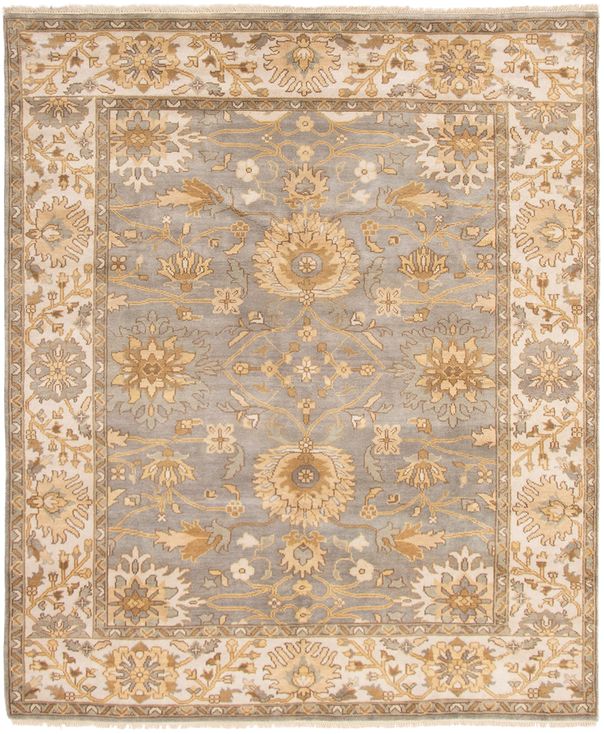 "Hand-knotted Royal Ushak Grey Wool Rug 8'3"" x 10'1"" Size: 8'3"" x 10'1"""